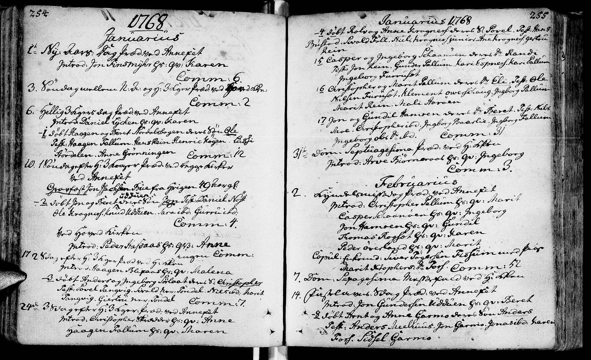 SAT, Ministerialprotokoller, klokkerbøker og fødselsregistre - Sør-Trøndelag, 646/L0605: Ministerialbok nr. 646A03, 1751-1790, s. 254-255