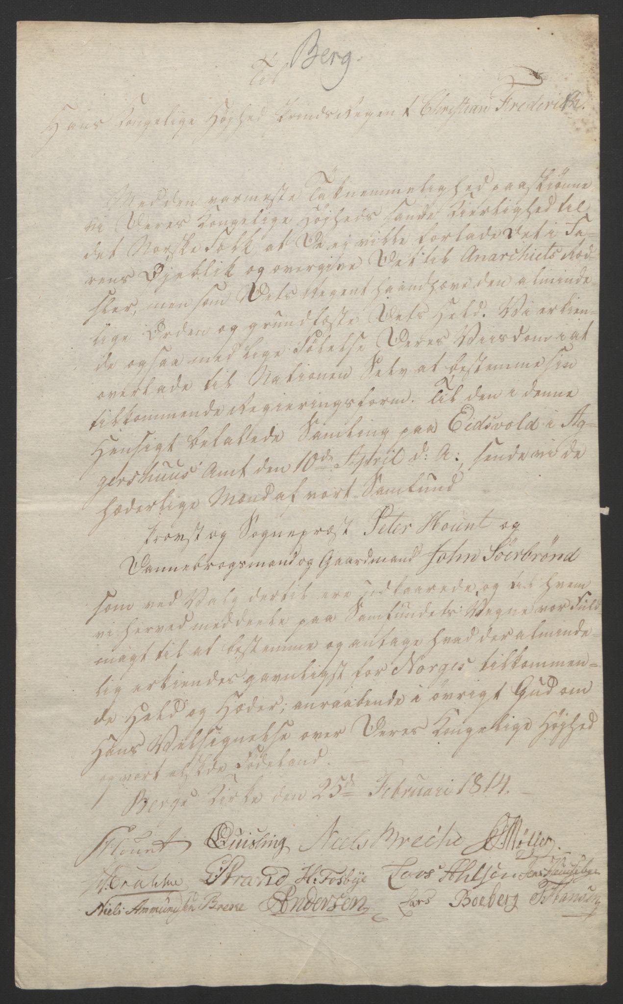 RA, Statsrådssekretariatet, D/Db/L0007: Fullmakter for Eidsvollsrepresentantene i 1814. , 1814, s. 142
