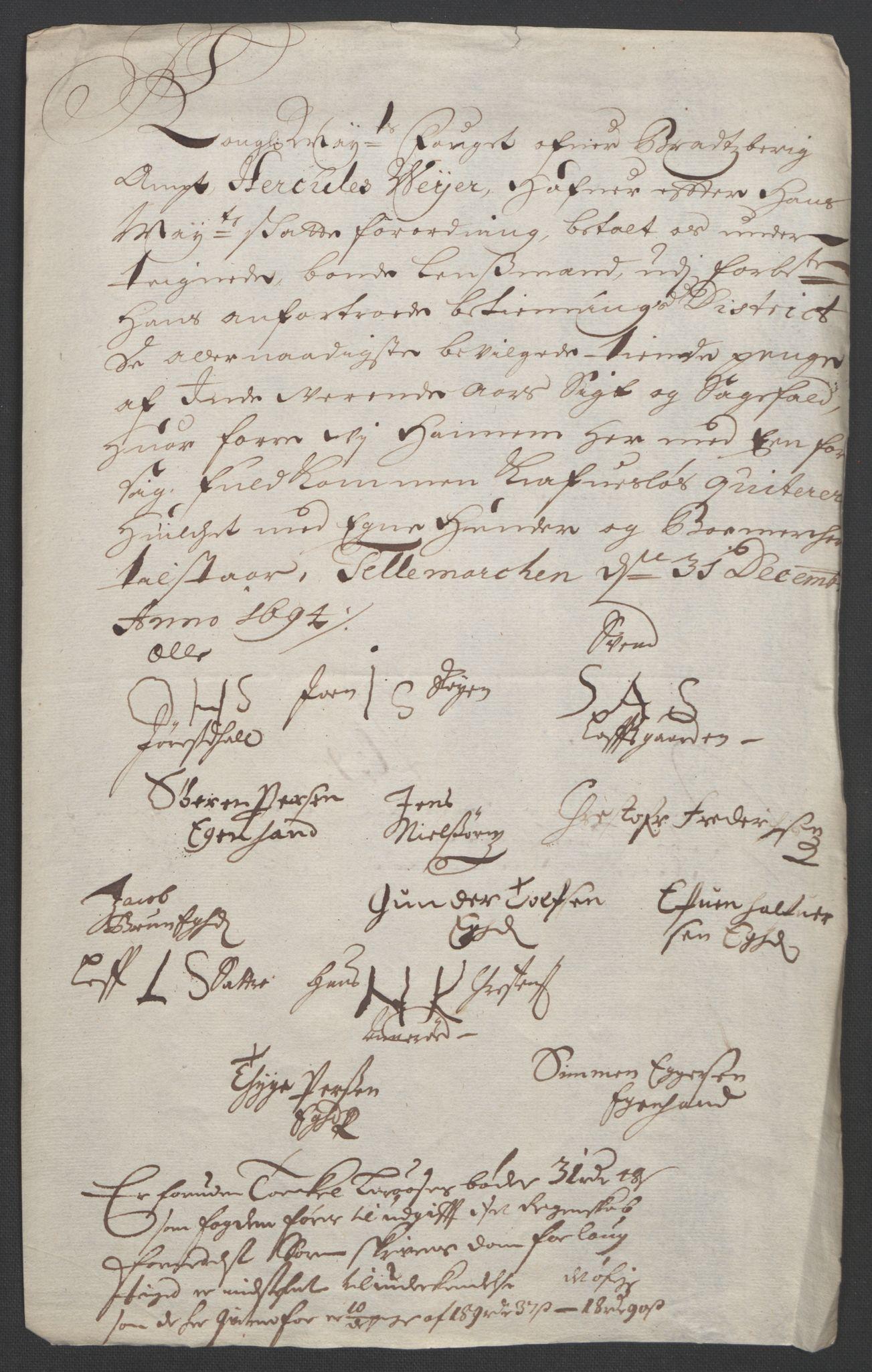 RA, Rentekammeret inntil 1814, Reviderte regnskaper, Fogderegnskap, R36/L2092: Fogderegnskap Øvre og Nedre Telemark og Bamble, 1694, s. 105