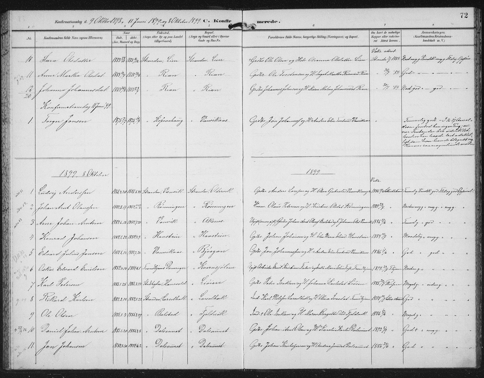 SAT, Ministerialprotokoller, klokkerbøker og fødselsregistre - Nord-Trøndelag, 702/L0024: Ministerialbok nr. 702A02, 1898-1914, s. 72