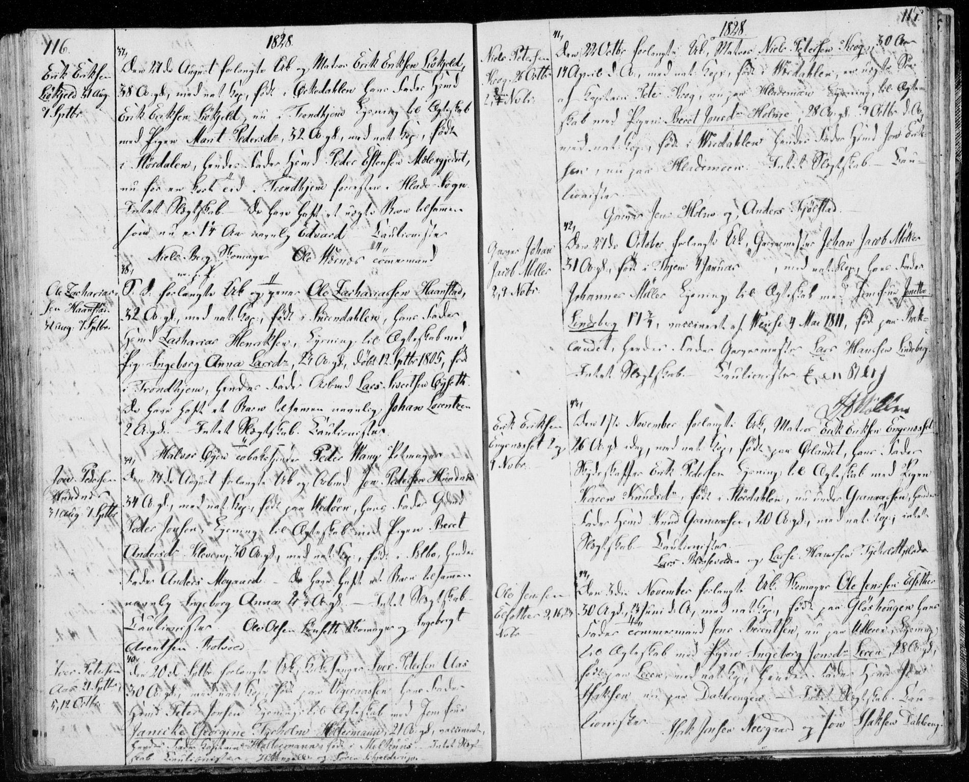SAT, Ministerialprotokoller, klokkerbøker og fødselsregistre - Sør-Trøndelag, 606/L0295: Lysningsprotokoll nr. 606A10, 1815-1833, s. 116-117