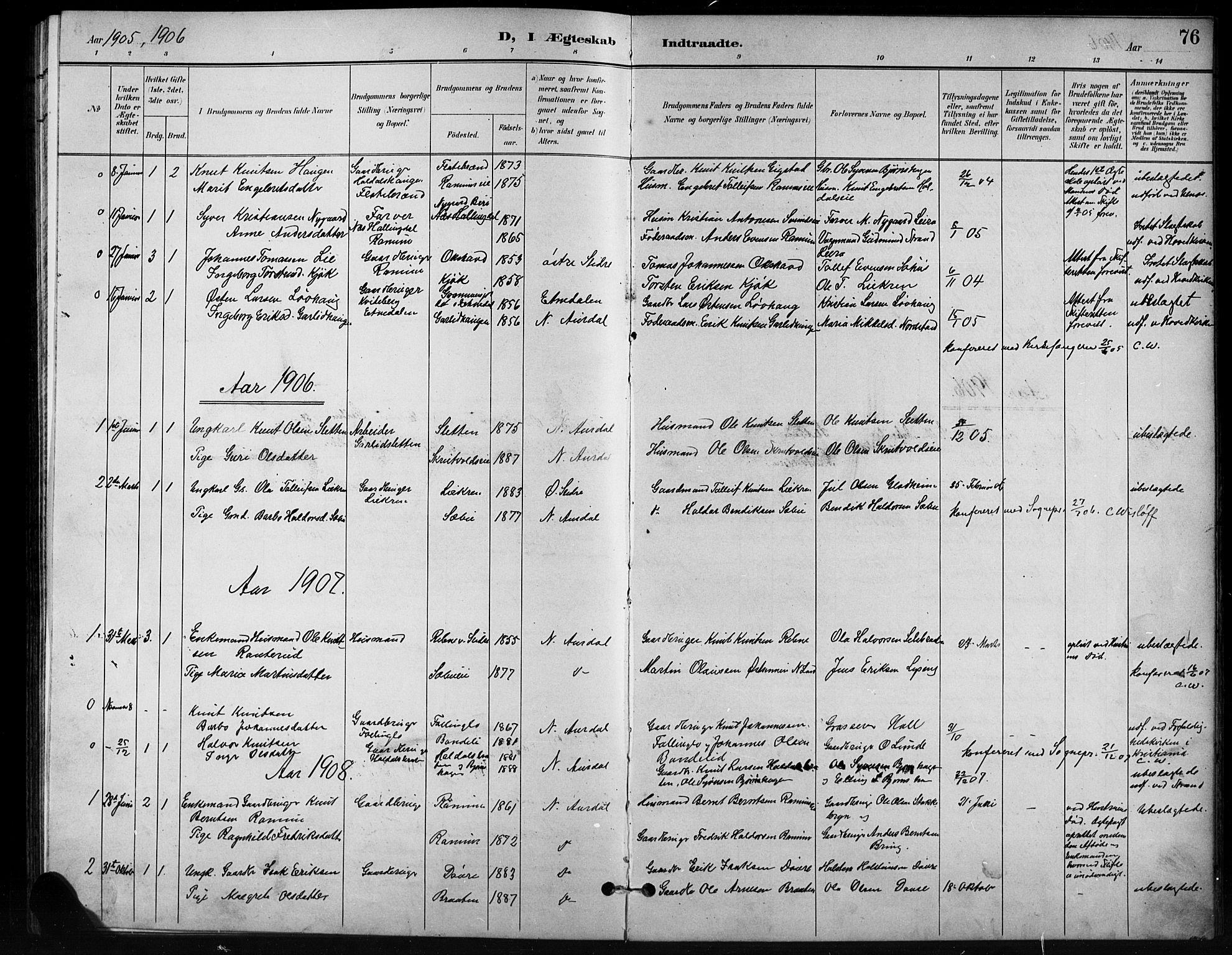 SAH, Nord-Aurdal prestekontor, Klokkerbok nr. 11, 1897-1918, s. 76