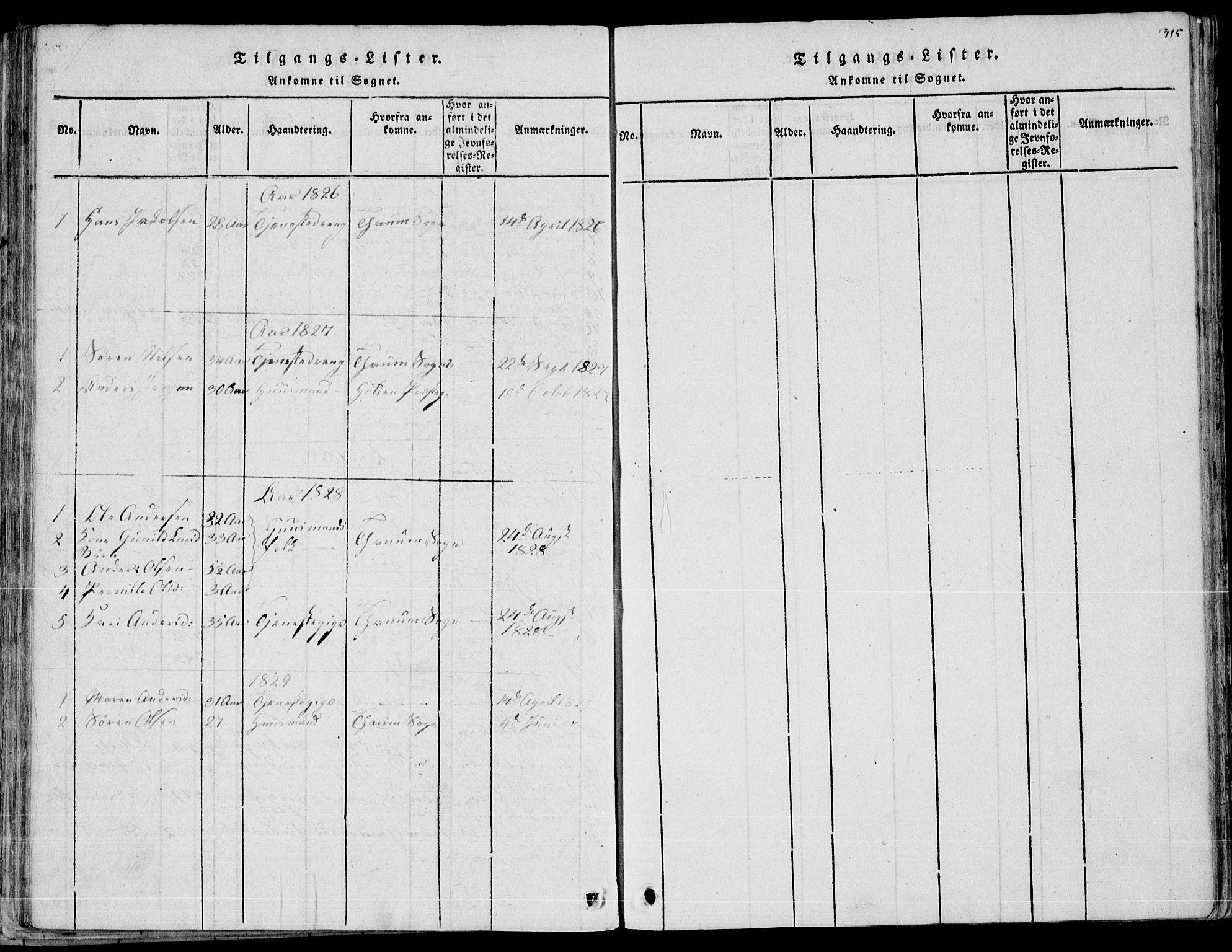 SAKO, Eidanger kirkebøker, F/Fa/L0007: Ministerialbok nr. 7, 1814-1831, s. 315