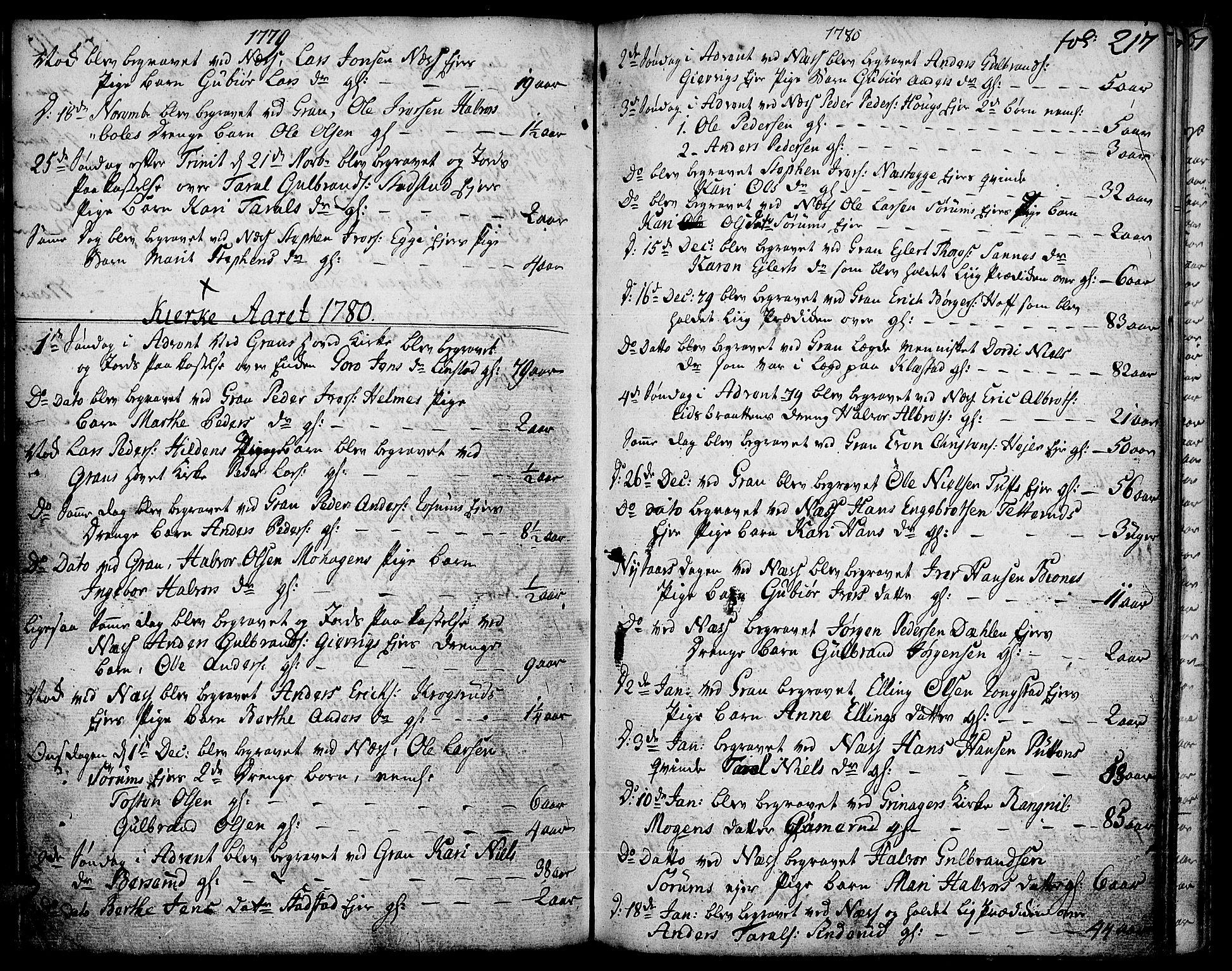 SAH, Gran prestekontor, Ministerialbok nr. 5, 1776-1788, s. 217