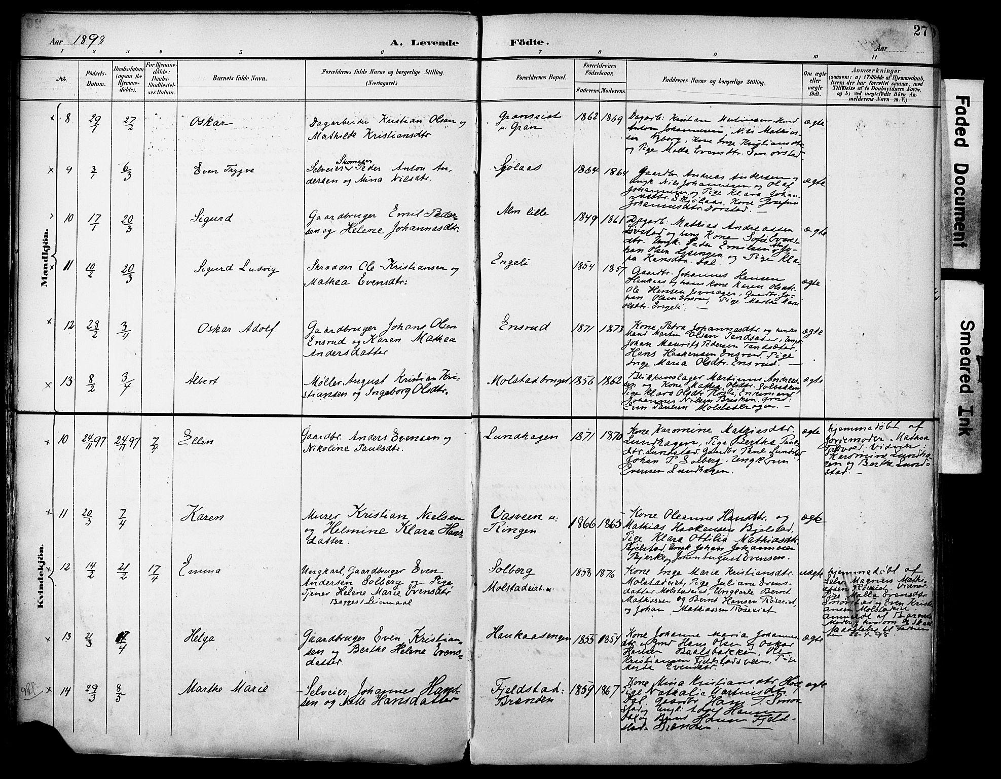 SAH, Vestre Toten prestekontor, H/Ha/Haa/L0013: Ministerialbok nr. 13, 1895-1911, s. 27