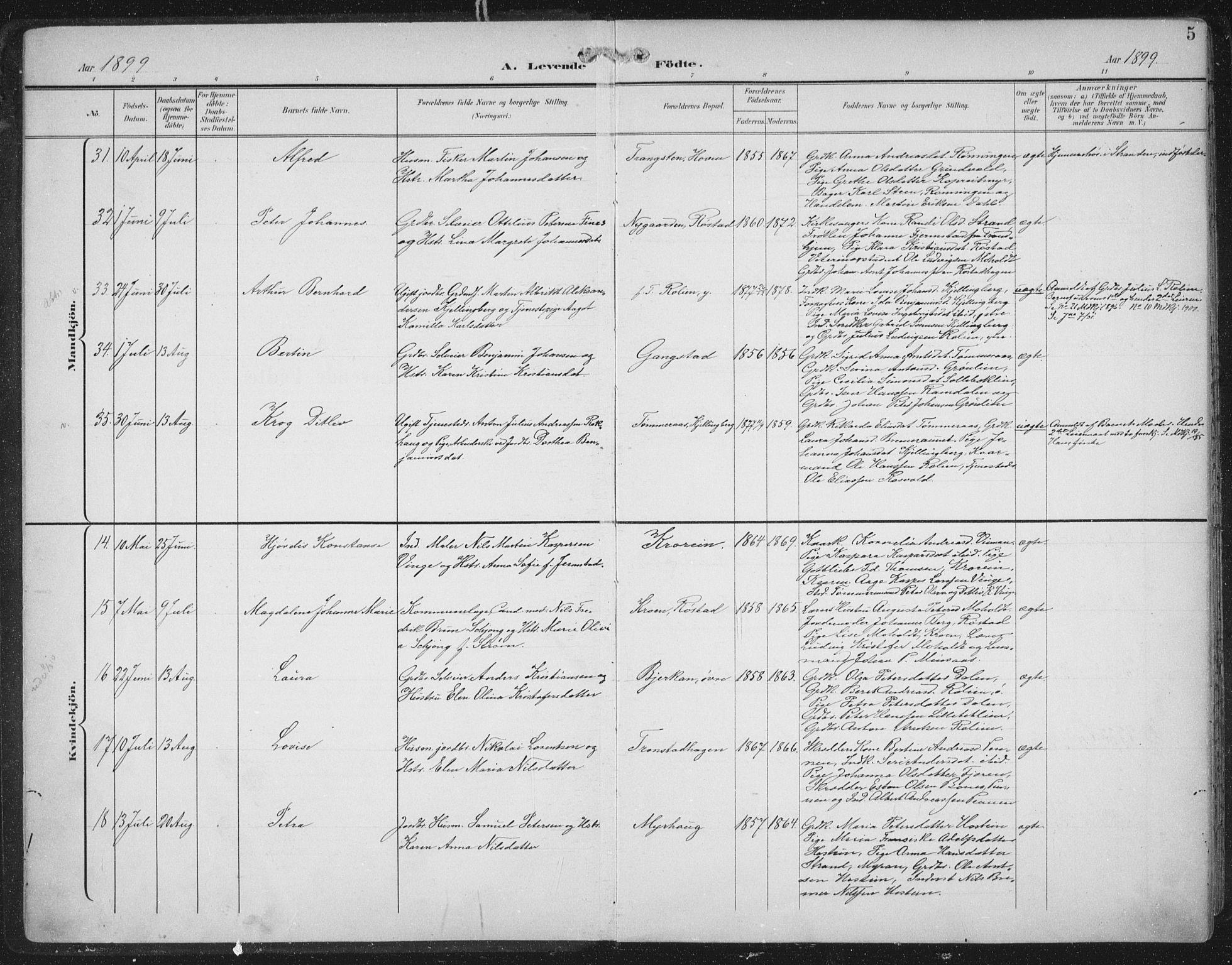 SAT, Ministerialprotokoller, klokkerbøker og fødselsregistre - Nord-Trøndelag, 701/L0011: Ministerialbok nr. 701A11, 1899-1915, s. 5