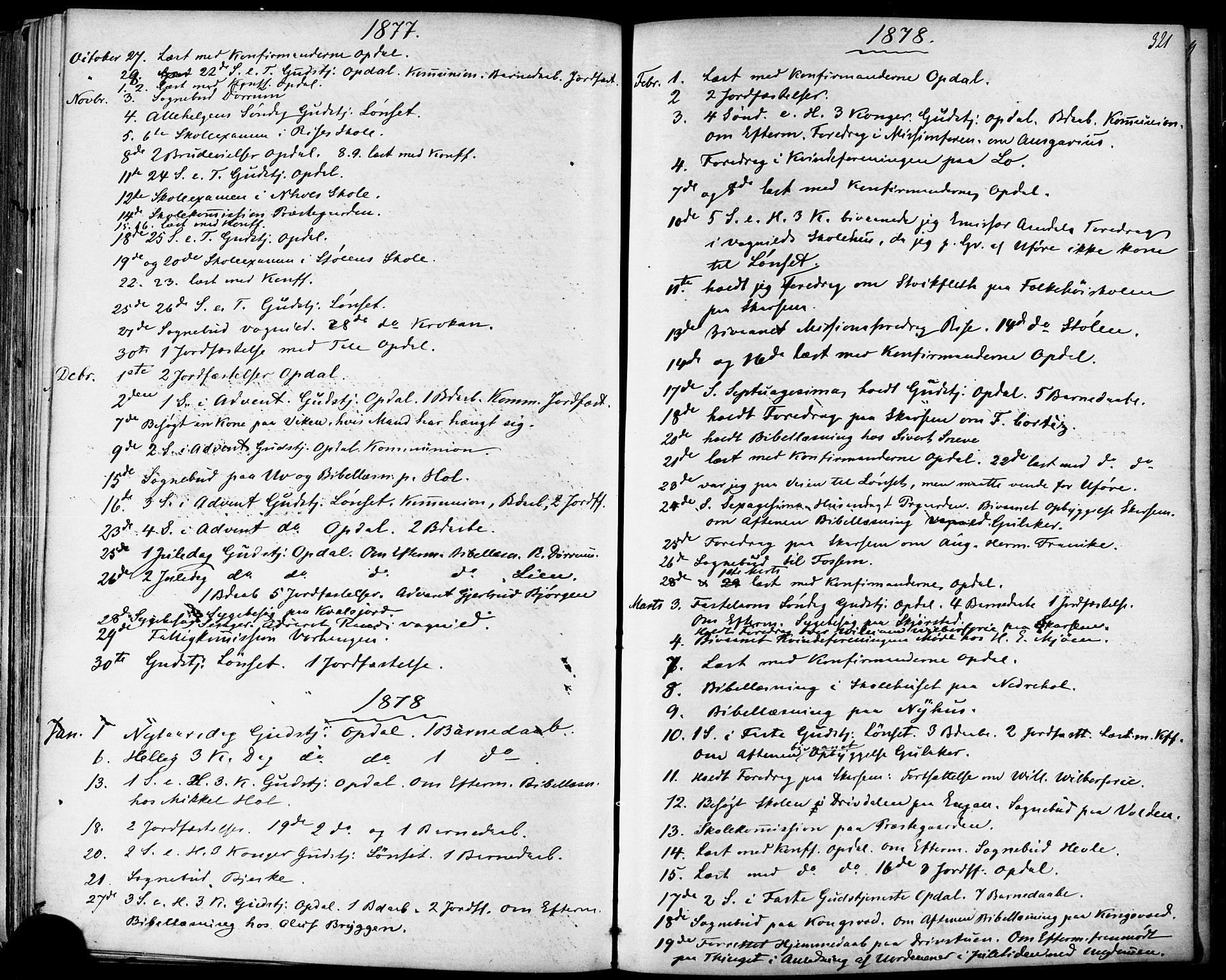SAT, Ministerialprotokoller, klokkerbøker og fødselsregistre - Sør-Trøndelag, 678/L0900: Ministerialbok nr. 678A09, 1872-1881, s. 321