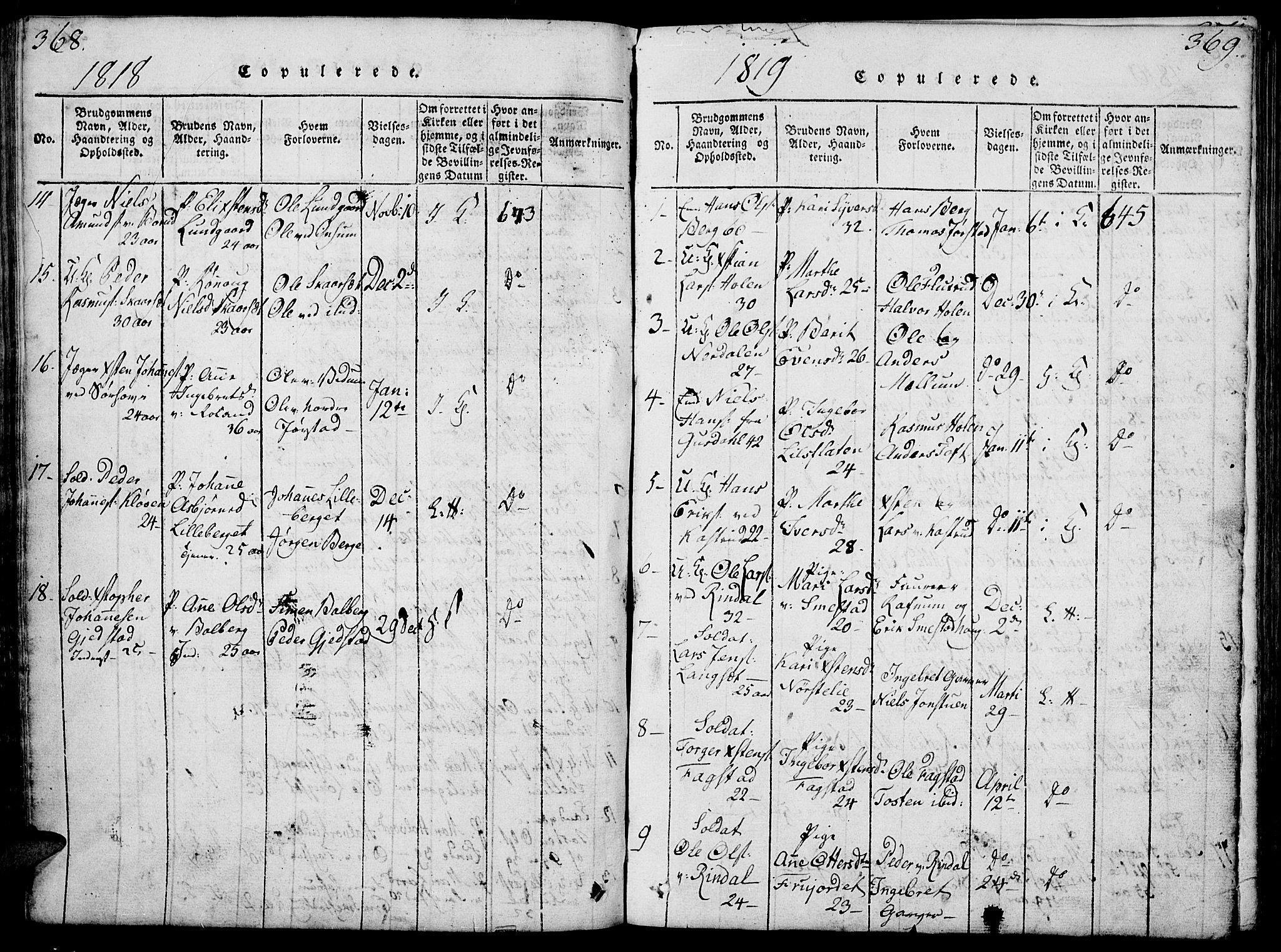 SAH, Fåberg prestekontor, Klokkerbok nr. 4, 1818-1837, s. 368-369