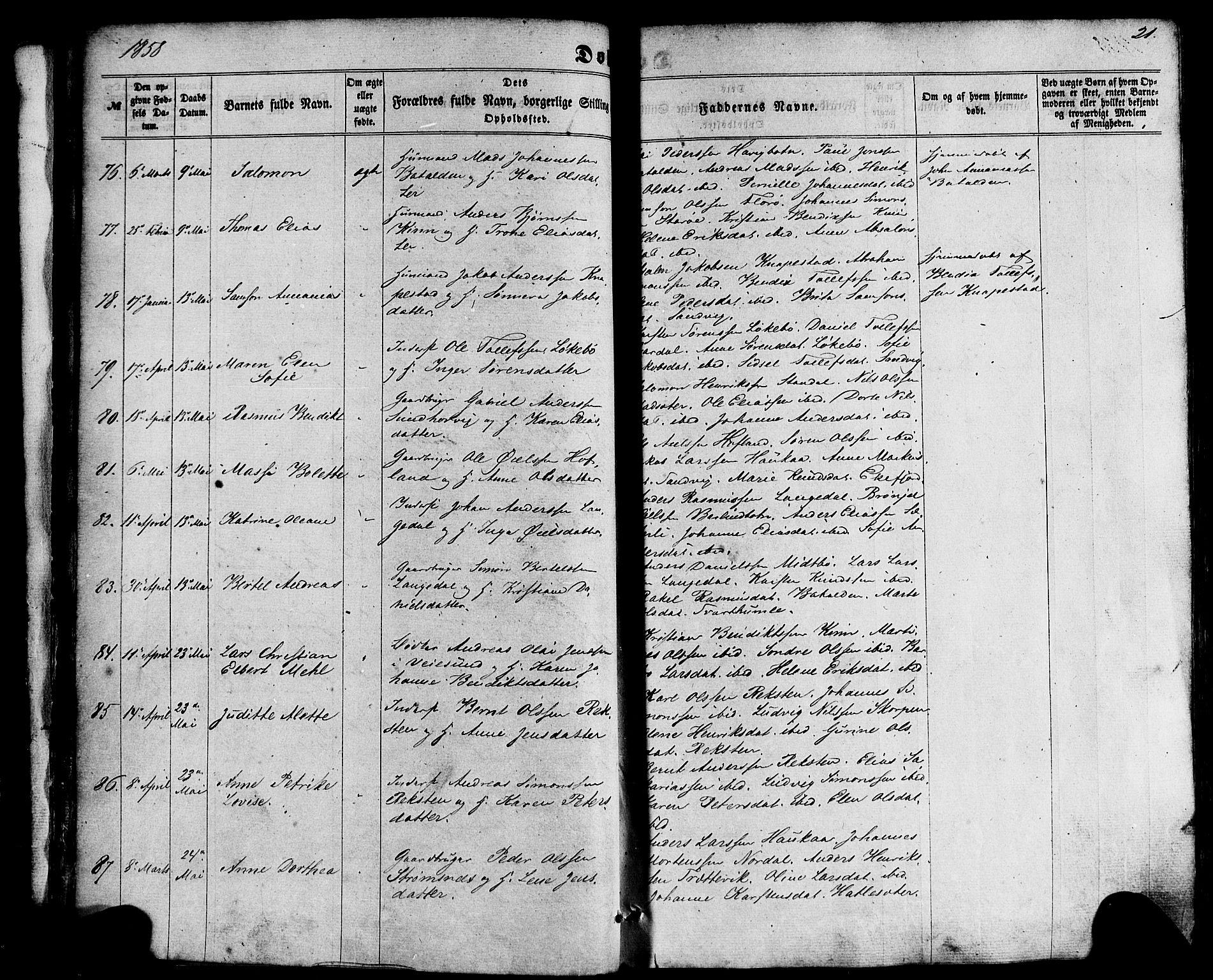SAB, Kinn Sokneprestembete, Ministerialbok nr. A 6, 1857-1885, s. 21