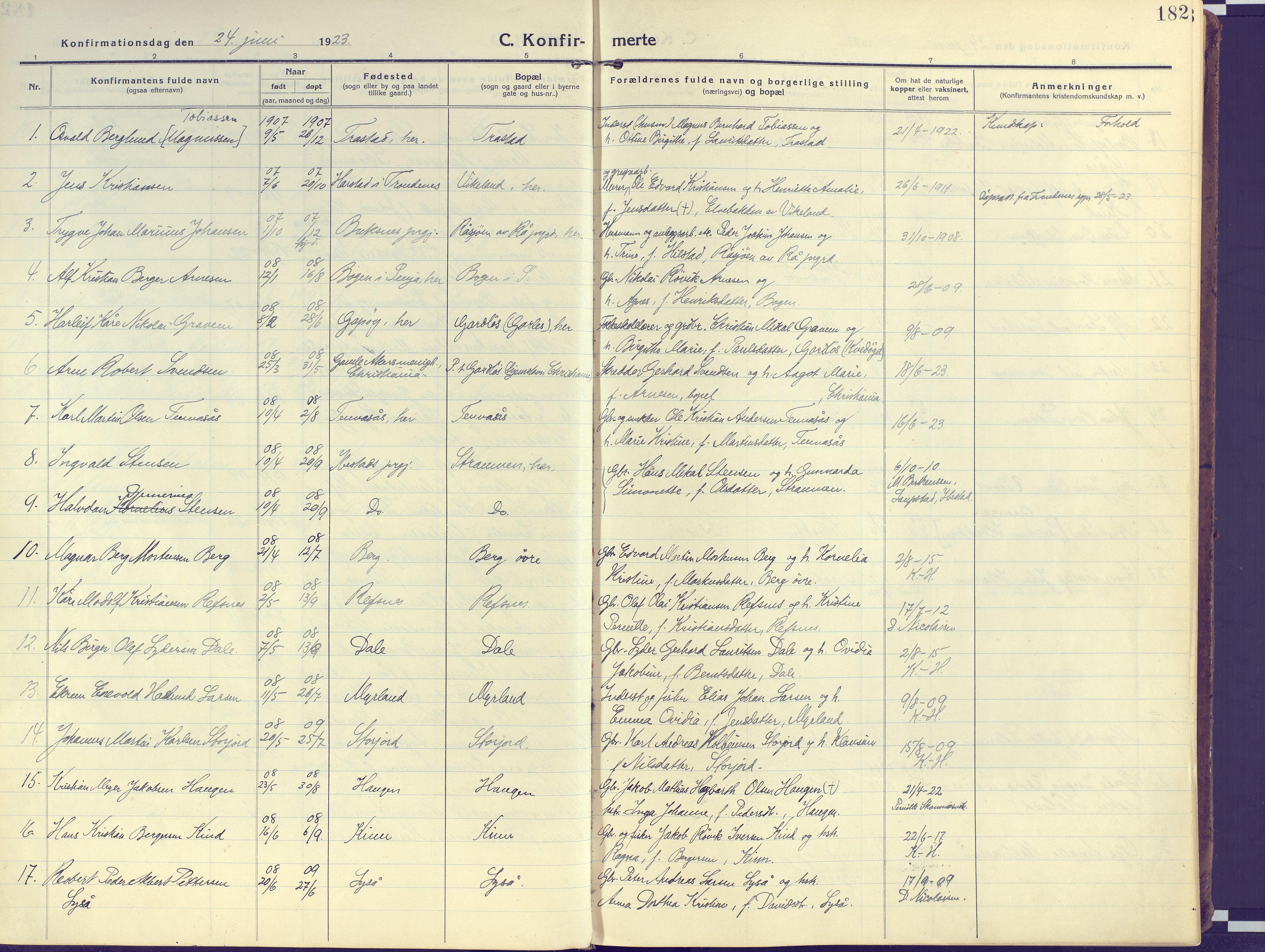 SATØ, Kvæfjord sokneprestkontor, G/Ga/Gaa/L0007kirke: Ministerialbok nr. 7, 1915-1931, s. 182