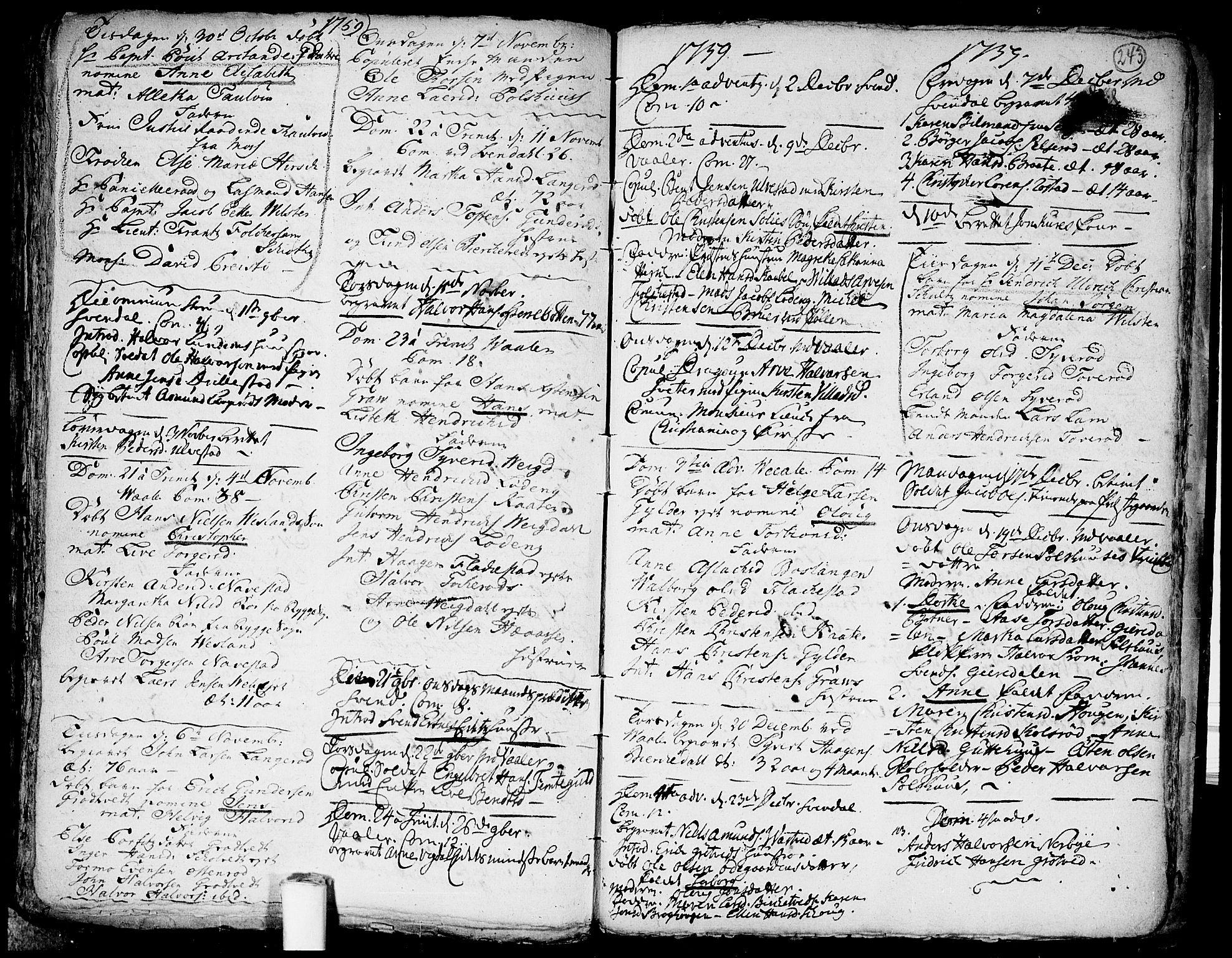 SAO, Våler prestekontor Kirkebøker, F/Fa/L0003: Ministerialbok nr. I 3, 1730-1770, s. 243