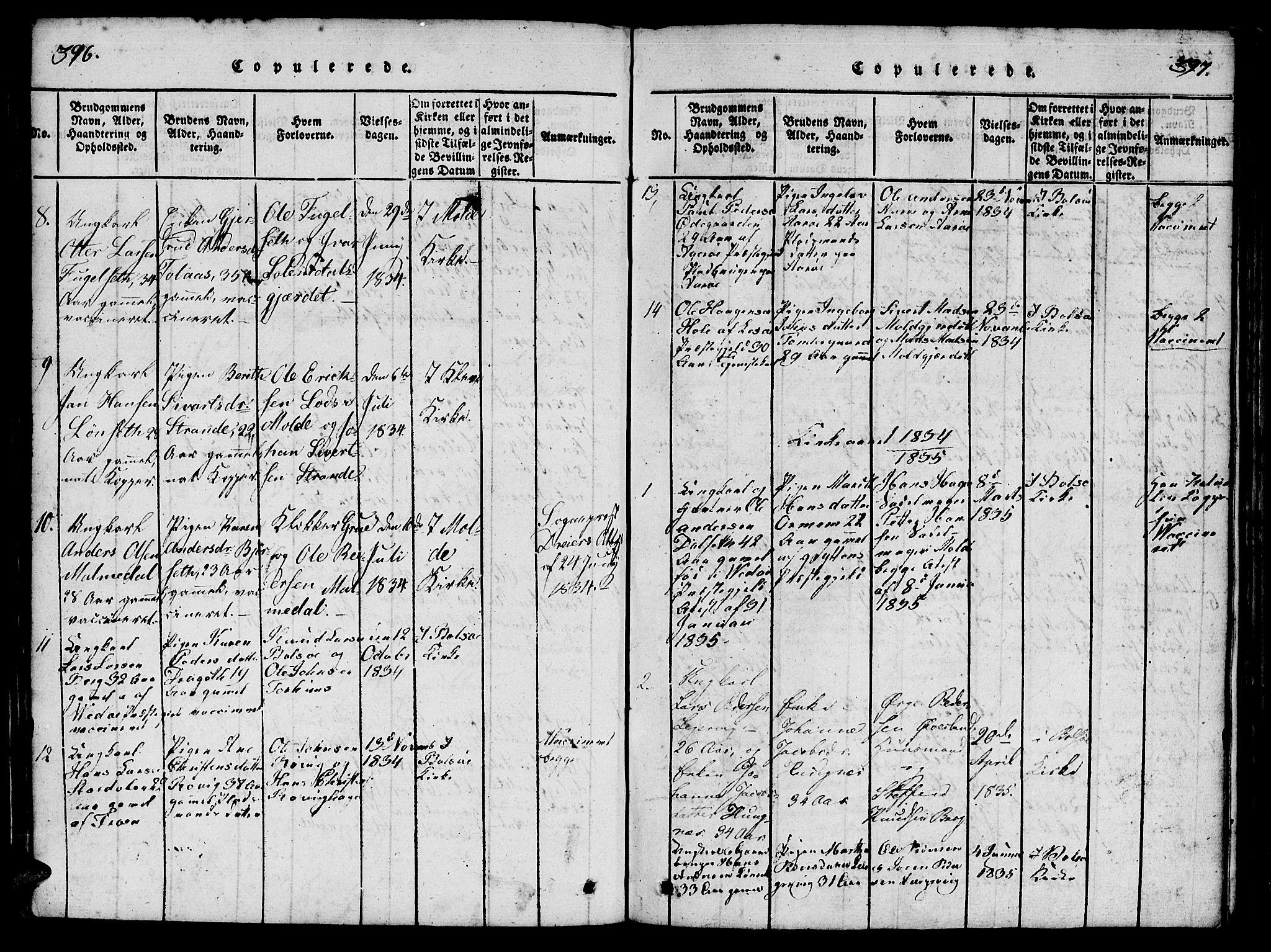 SAT, Ministerialprotokoller, klokkerbøker og fødselsregistre - Møre og Romsdal, 555/L0652: Ministerialbok nr. 555A03, 1817-1843, s. 396-397