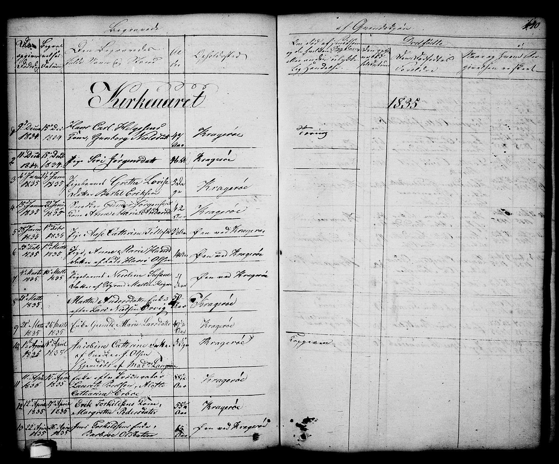 SAKO, Kragerø kirkebøker, G/Ga/L0003: Klokkerbok nr. 3, 1832-1852, s. 140