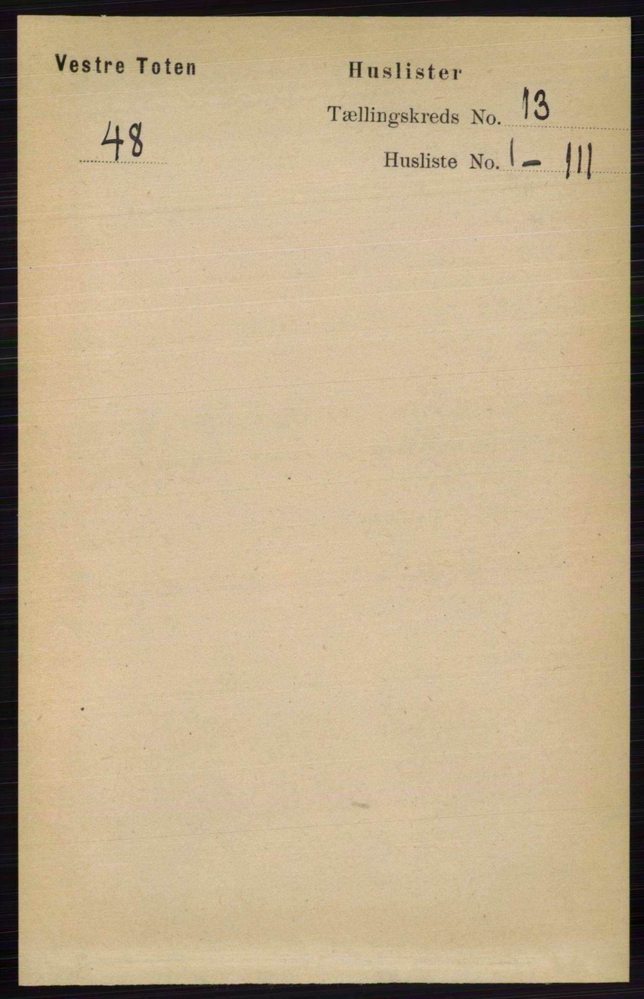 RA, Folketelling 1891 for 0529 Vestre Toten herred, 1891, s. 7700