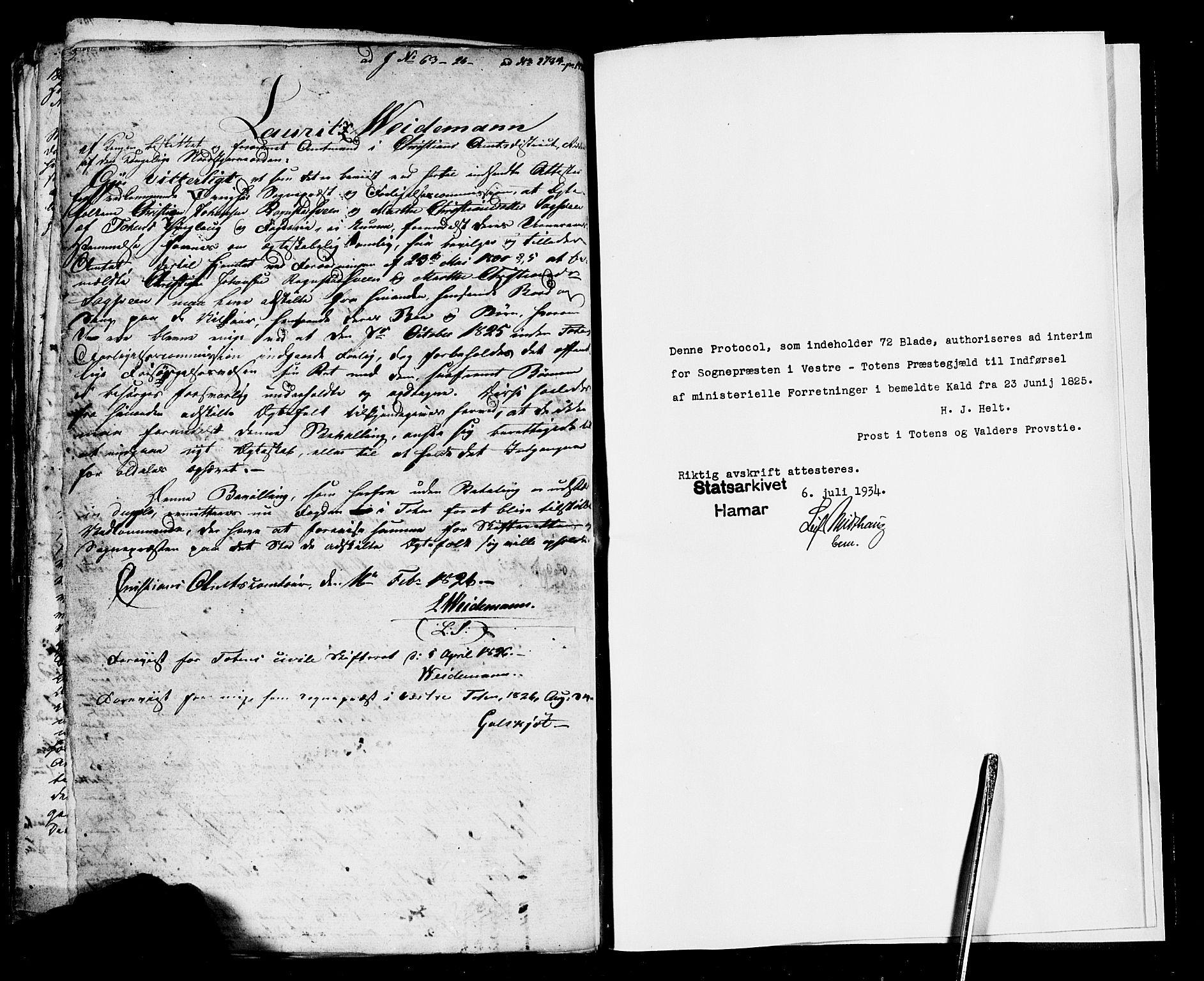 SAH, Vestre Toten prestekontor, Ministerialbok nr. 1, 1825-1826
