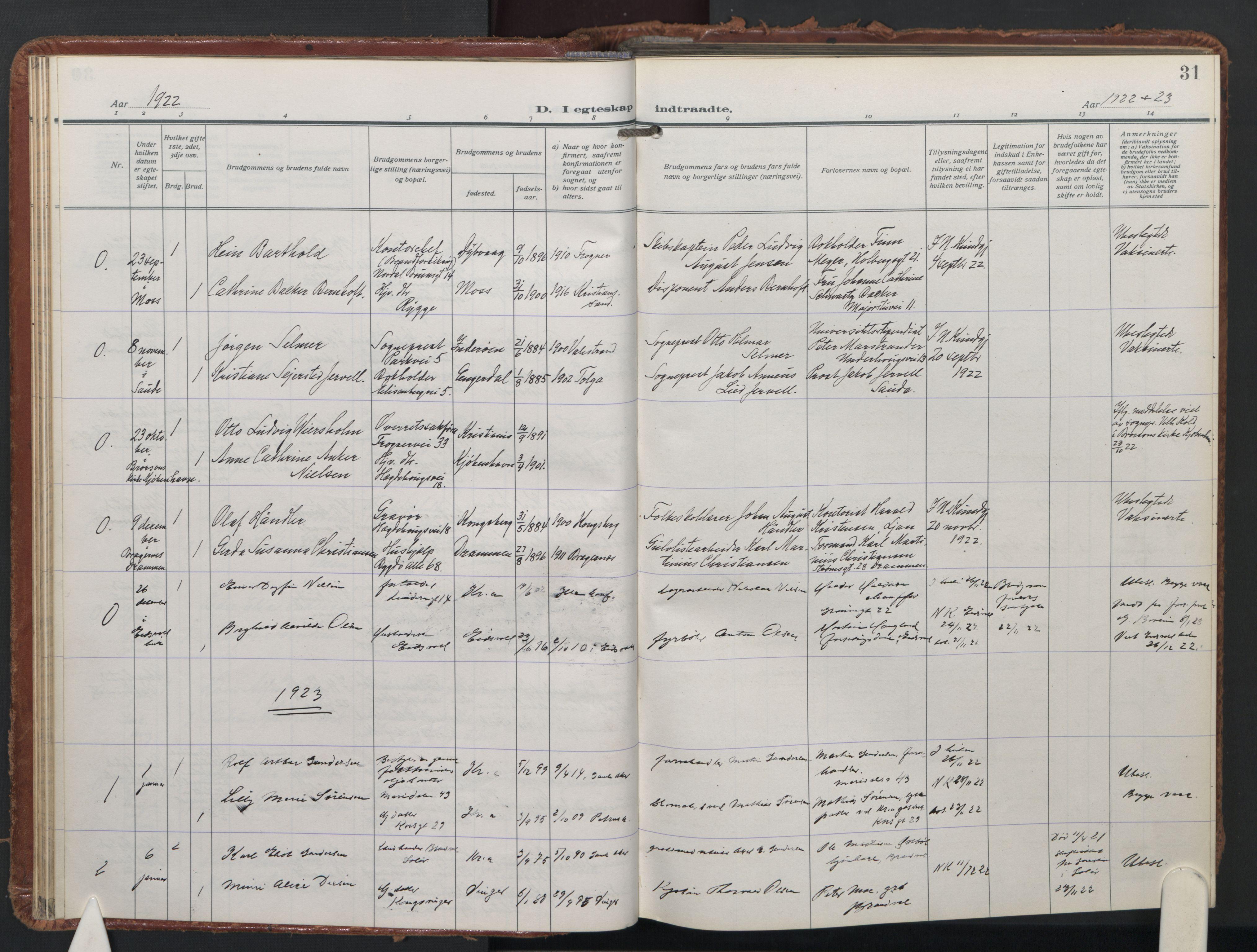SAO, Trefoldighet prestekontor Kirkebøker, F/Fc/L0009: Ministerialbok nr. III 9, 1922-1936, s. 31