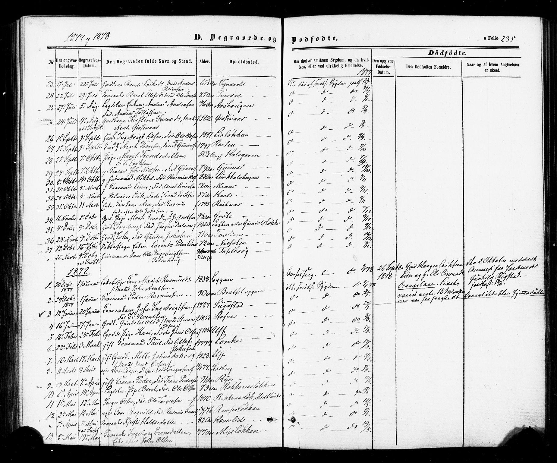 SAT, Ministerialprotokoller, klokkerbøker og fødselsregistre - Sør-Trøndelag, 674/L0870: Ministerialbok nr. 674A02, 1861-1879, s. 235