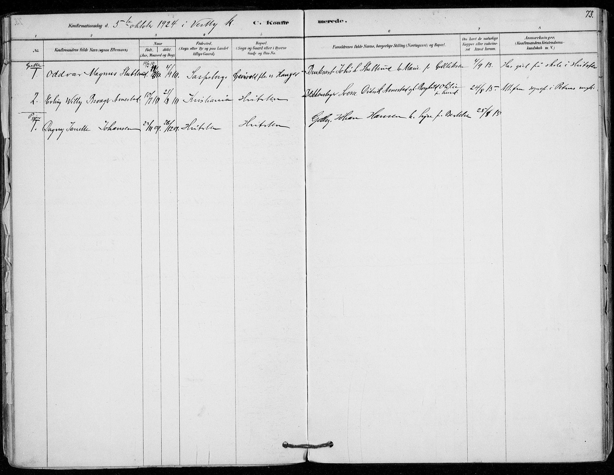 SAO, Vestby prestekontor Kirkebøker, F/Fd/L0001: Ministerialbok nr. IV 1, 1878-1945, s. 73