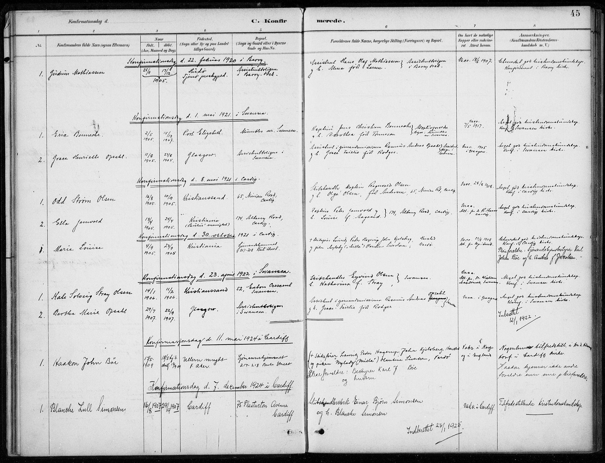 SAB, Den Norske Sjømannsmisjon i utlandet*, Ministerialbok nr. A 2, 1887-1932, s. 45