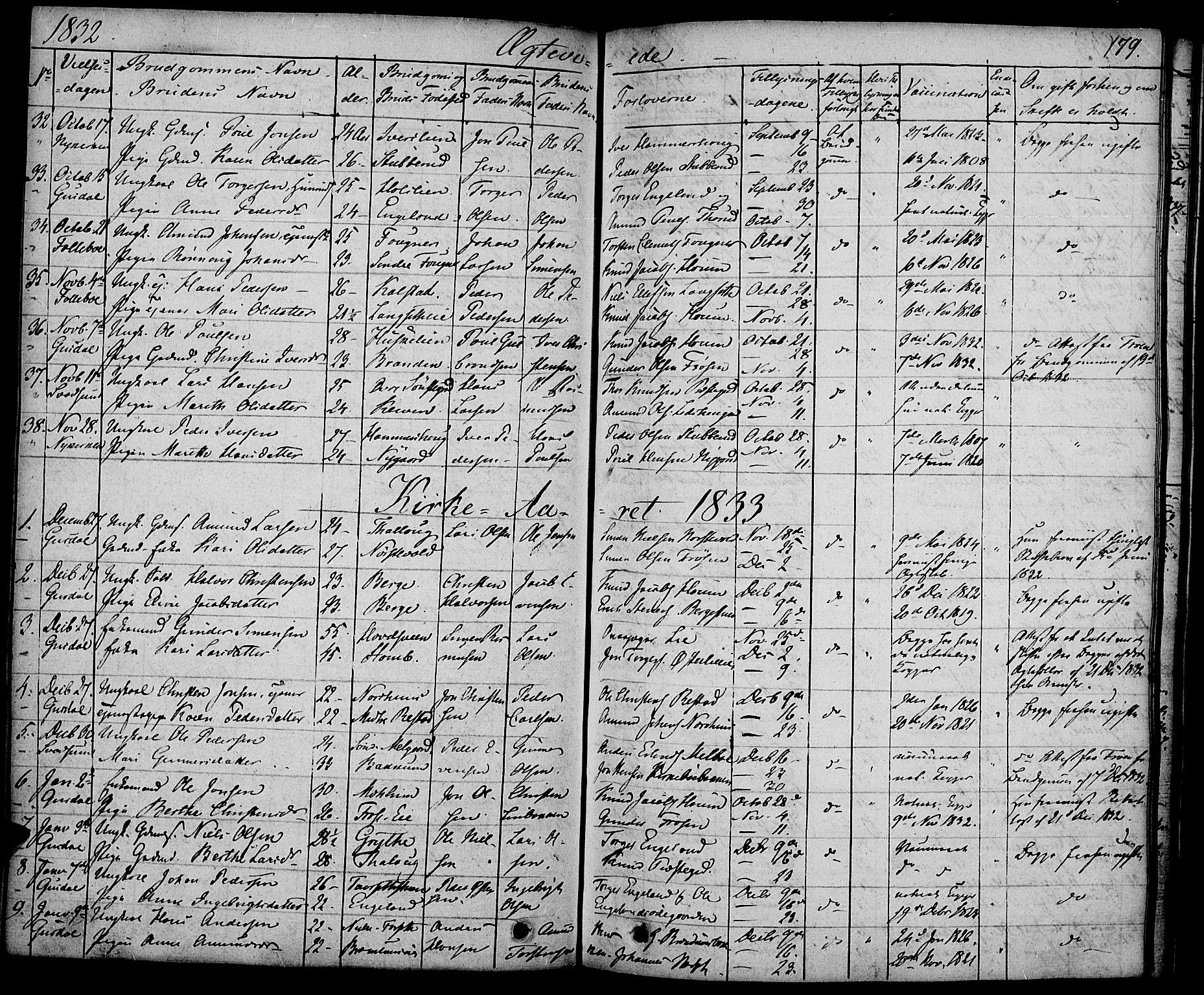 SAH, Gausdal prestekontor, Ministerialbok nr. 6, 1830-1839, s. 179