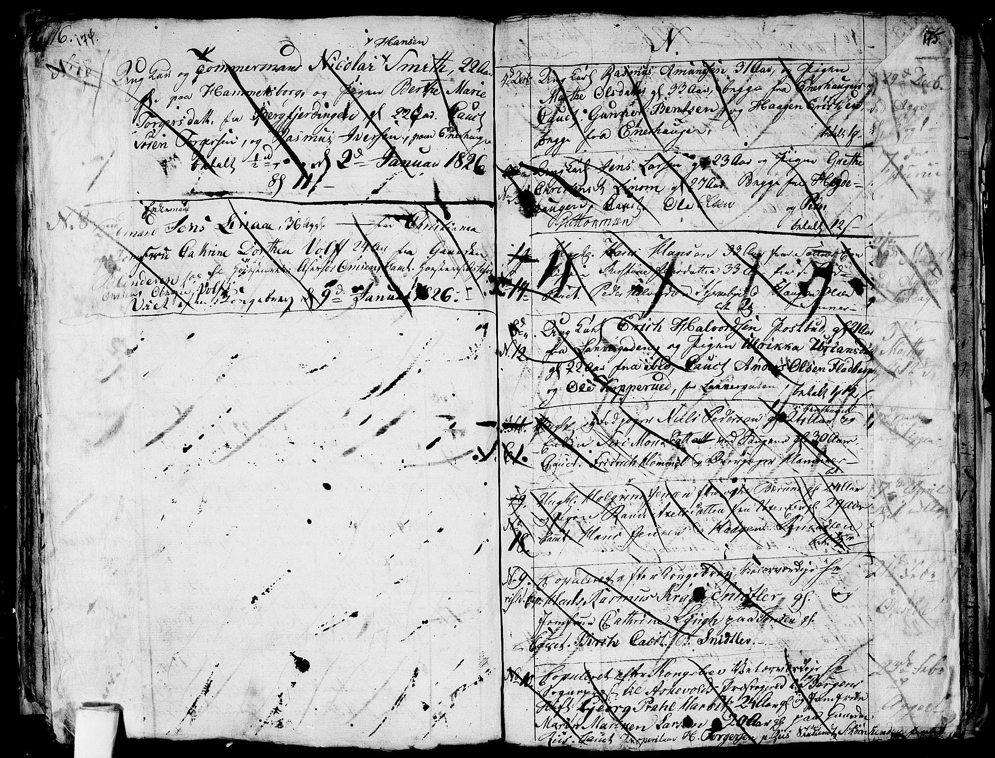 SAO, Aker prestekontor kirkebøker, G/L0001: Klokkerbok nr. 1, 1796-1826, s. 174-175