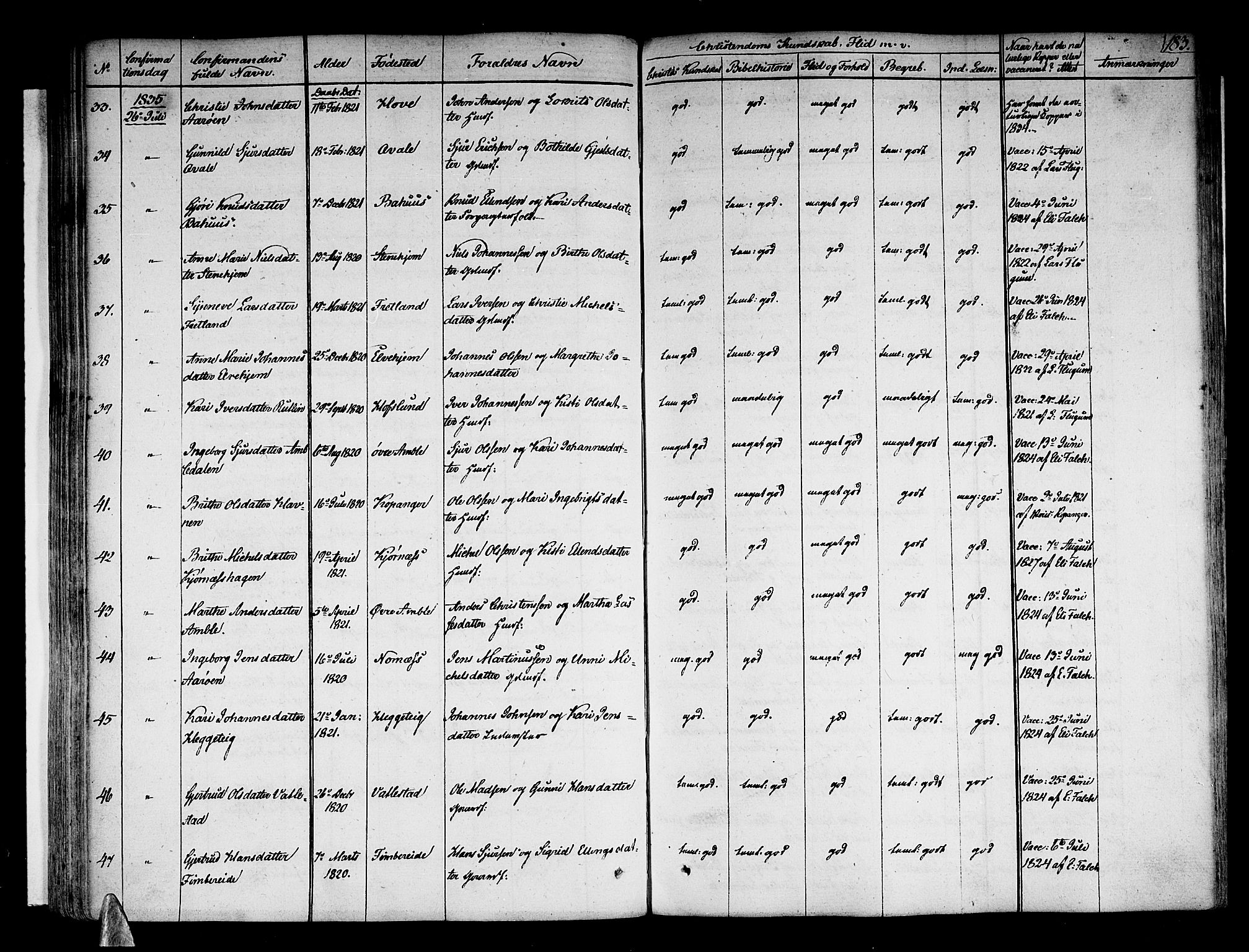 SAB, Sogndal sokneprestembete, H/Haa/Haaa/L0010: Ministerialbok nr. A 10, 1821-1838, s. 183