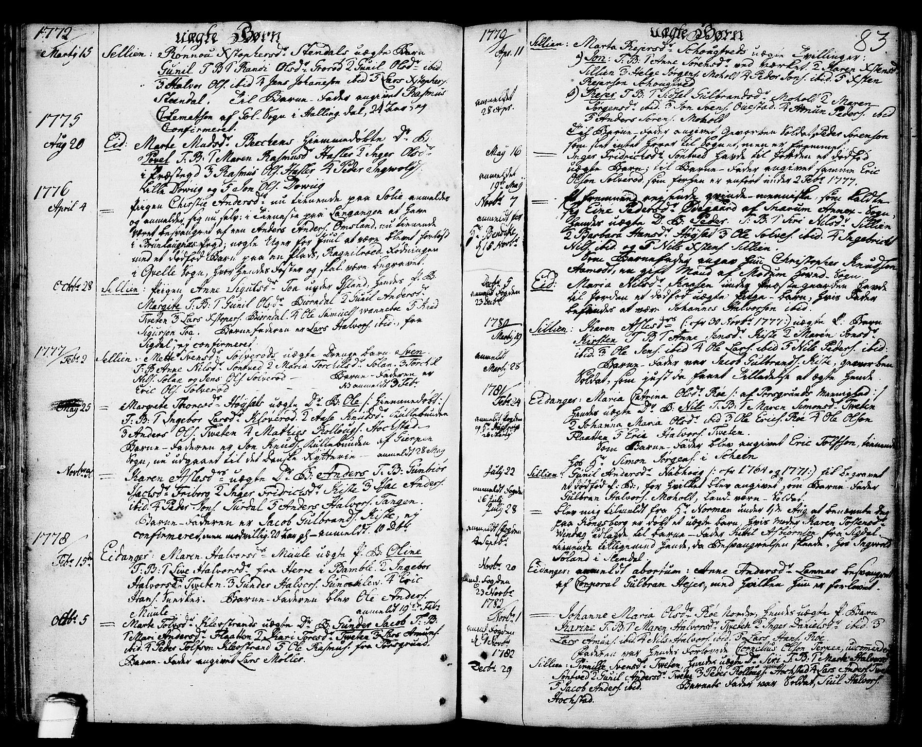 SAKO, Eidanger kirkebøker, F/Fa/L0006: Ministerialbok nr. 6, 1764-1814, s. 83