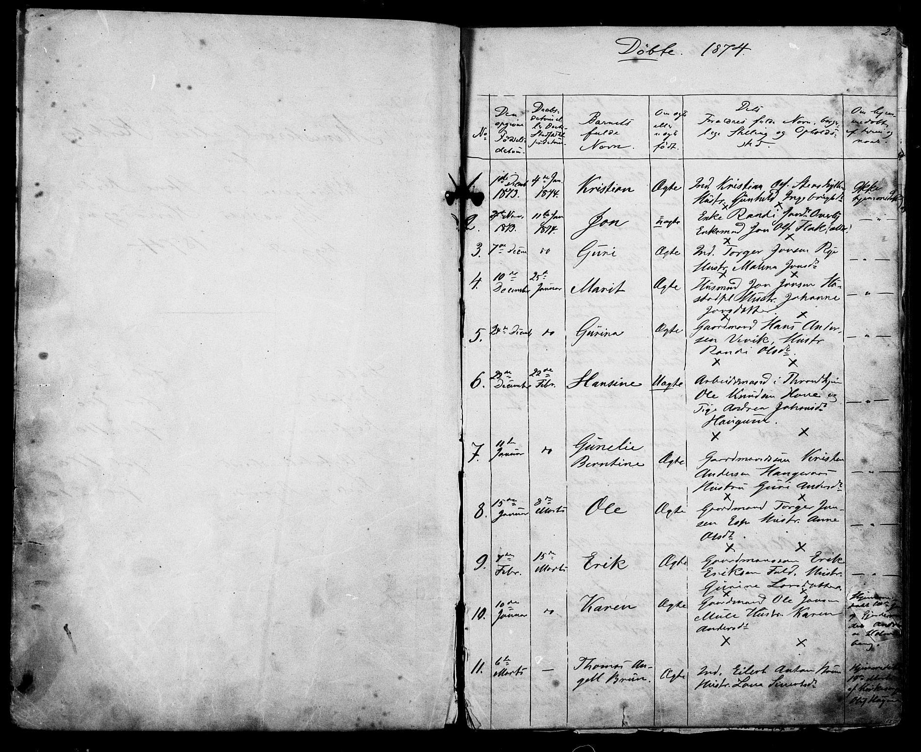 SAT, Ministerialprotokoller, klokkerbøker og fødselsregistre - Sør-Trøndelag, 612/L0387: Klokkerbok nr. 612C03, 1874-1908, s. 2