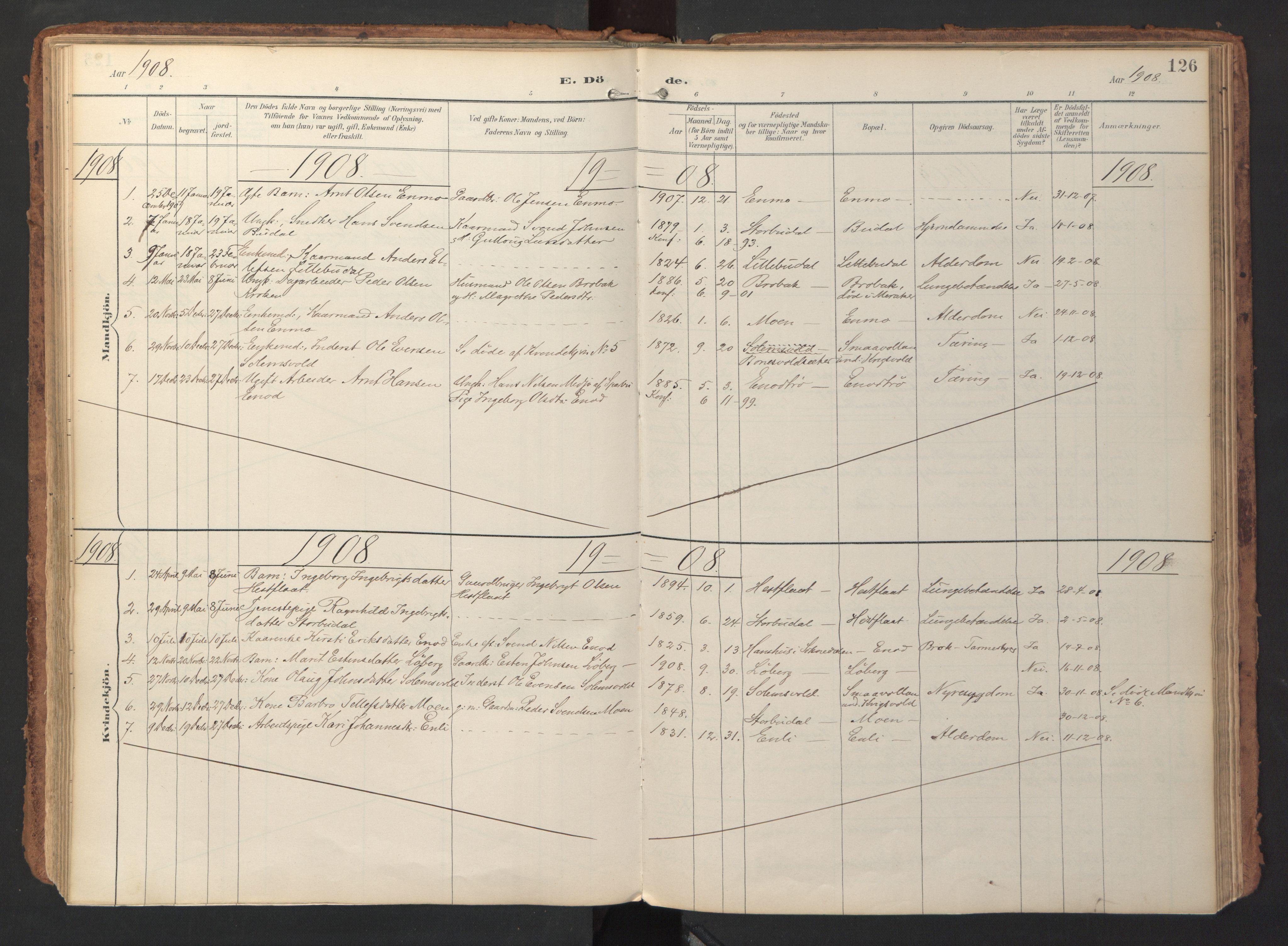 SAT, Ministerialprotokoller, klokkerbøker og fødselsregistre - Sør-Trøndelag, 690/L1050: Ministerialbok nr. 690A01, 1889-1929, s. 126