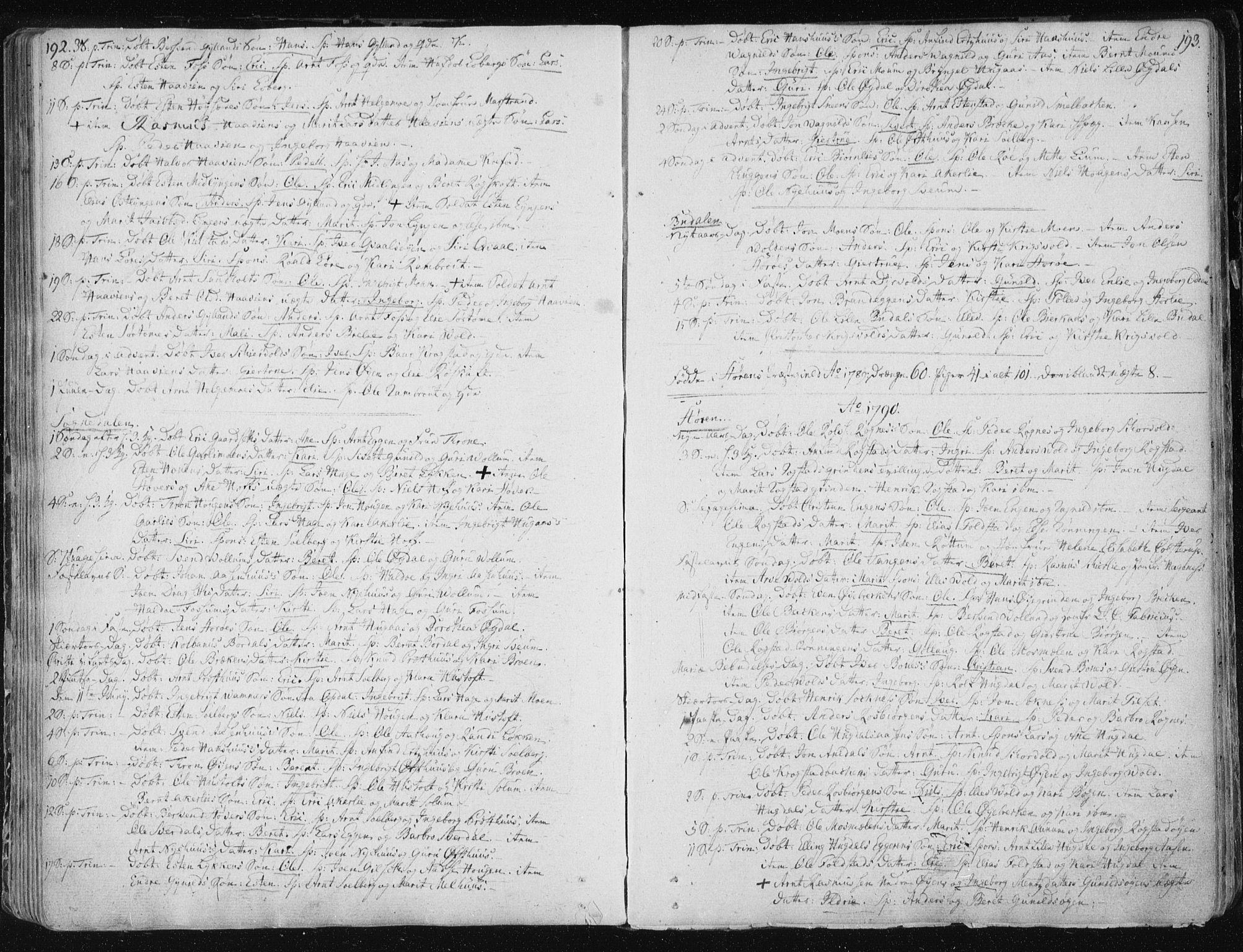 SAT, Ministerialprotokoller, klokkerbøker og fødselsregistre - Sør-Trøndelag, 687/L0992: Ministerialbok nr. 687A03 /1, 1788-1815, s. 192-193