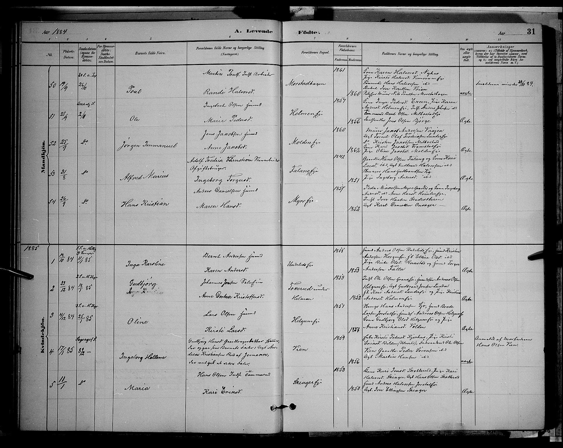 SAH, Gran prestekontor, Klokkerbok nr. 2, 1879-1892, s. 31