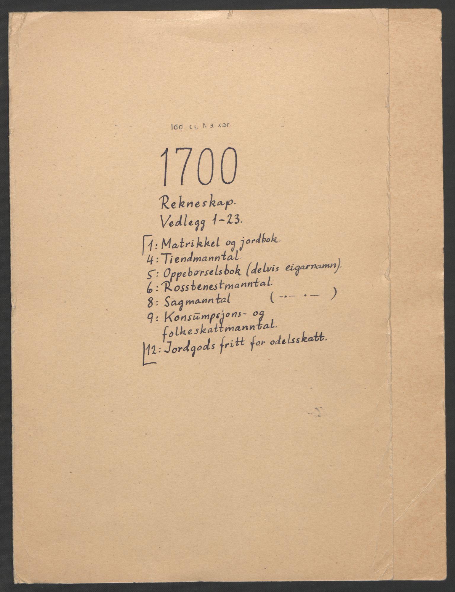 RA, Rentekammeret inntil 1814, Reviderte regnskaper, Fogderegnskap, R01/L0015: Fogderegnskap Idd og Marker, 1700-1701, s. 2