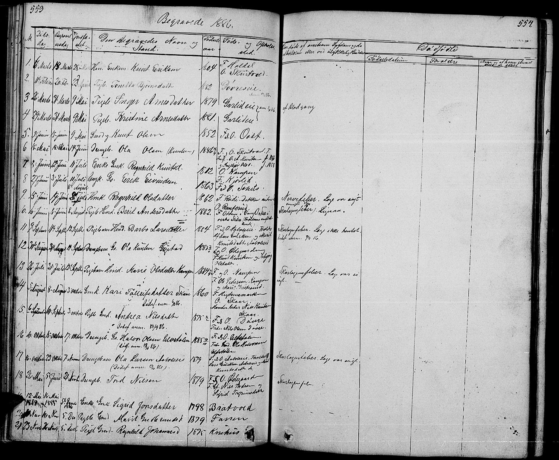 SAH, Nord-Aurdal prestekontor, Klokkerbok nr. 1, 1834-1887, s. 553-554