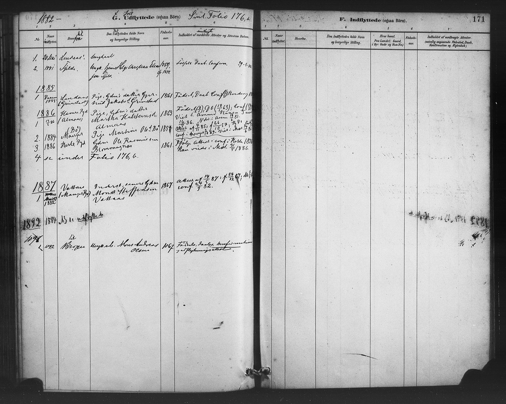 SAB, Alversund Sokneprestembete, H/Ha/Haa/Haac/L0001: Ministerialbok nr. C 1, 1882-1900, s. 171