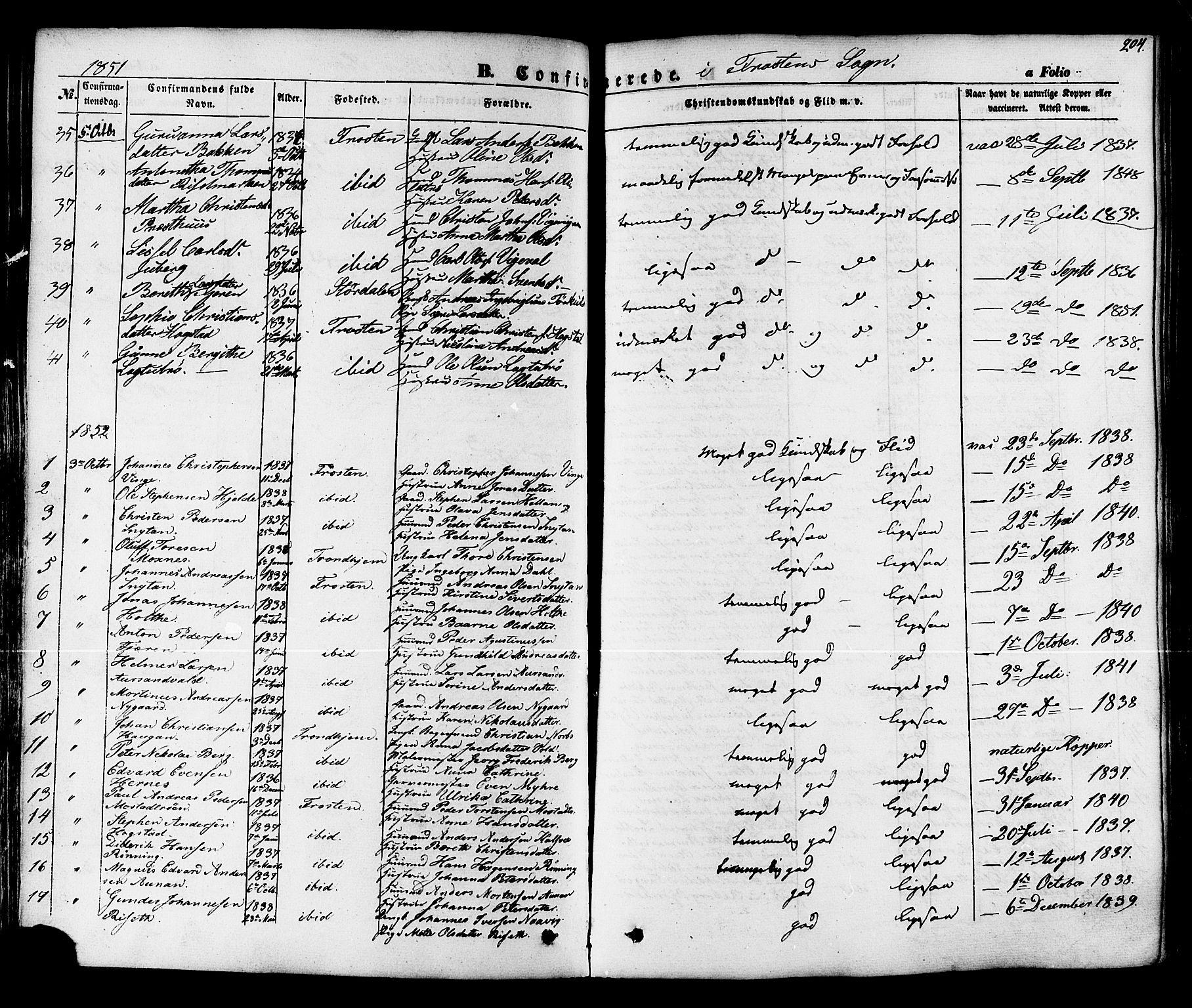 SAT, Ministerialprotokoller, klokkerbøker og fødselsregistre - Nord-Trøndelag, 713/L0116: Ministerialbok nr. 713A07 /1, 1850-1877, s. 204