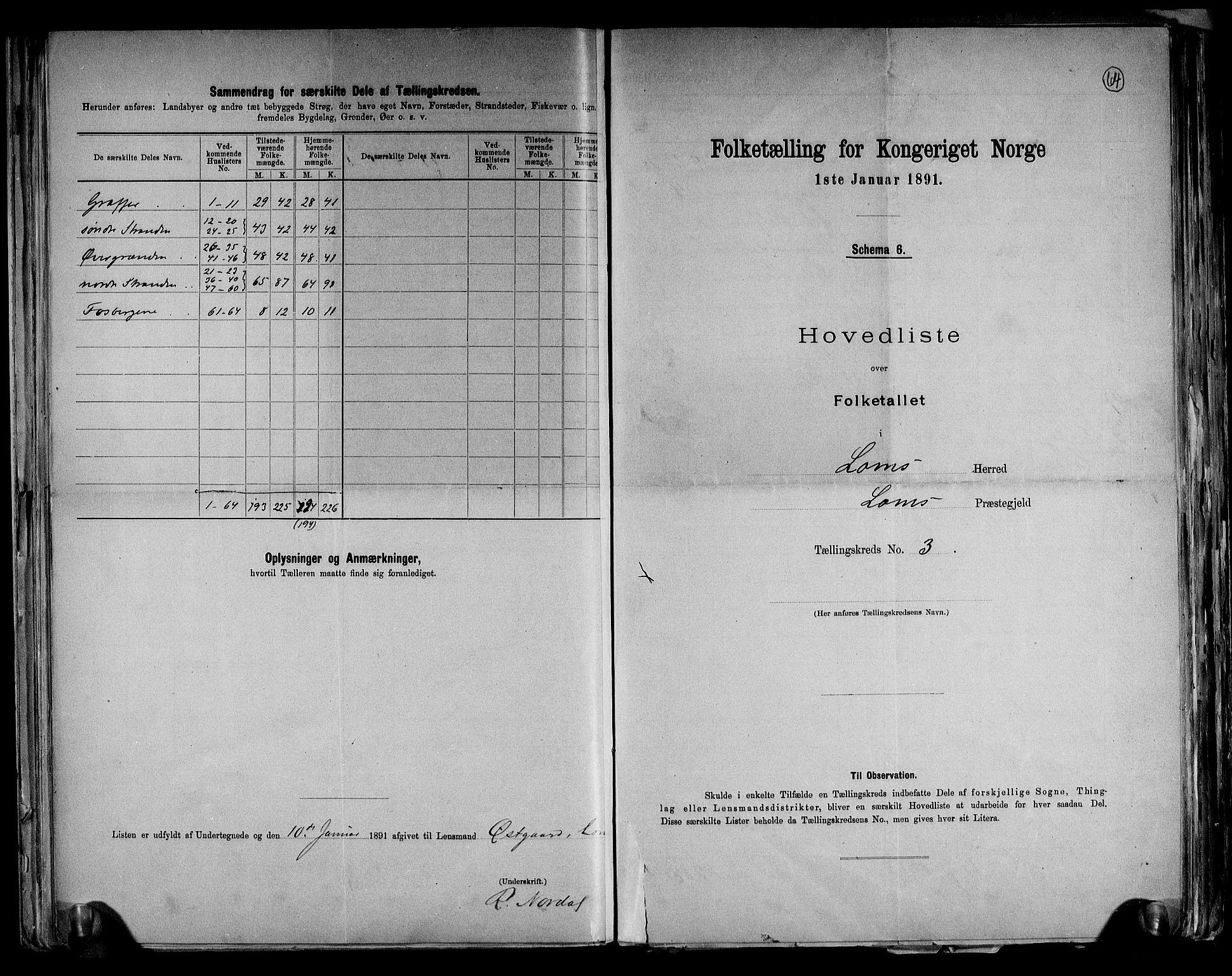RA, Folketelling 1891 for 0514 Lom herred, 1891, s. 8