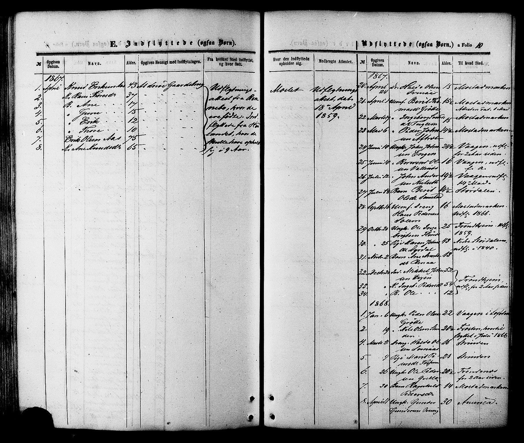 SAT, Ministerialprotokoller, klokkerbøker og fødselsregistre - Sør-Trøndelag, 695/L1147: Ministerialbok nr. 695A07, 1860-1877, s. 10