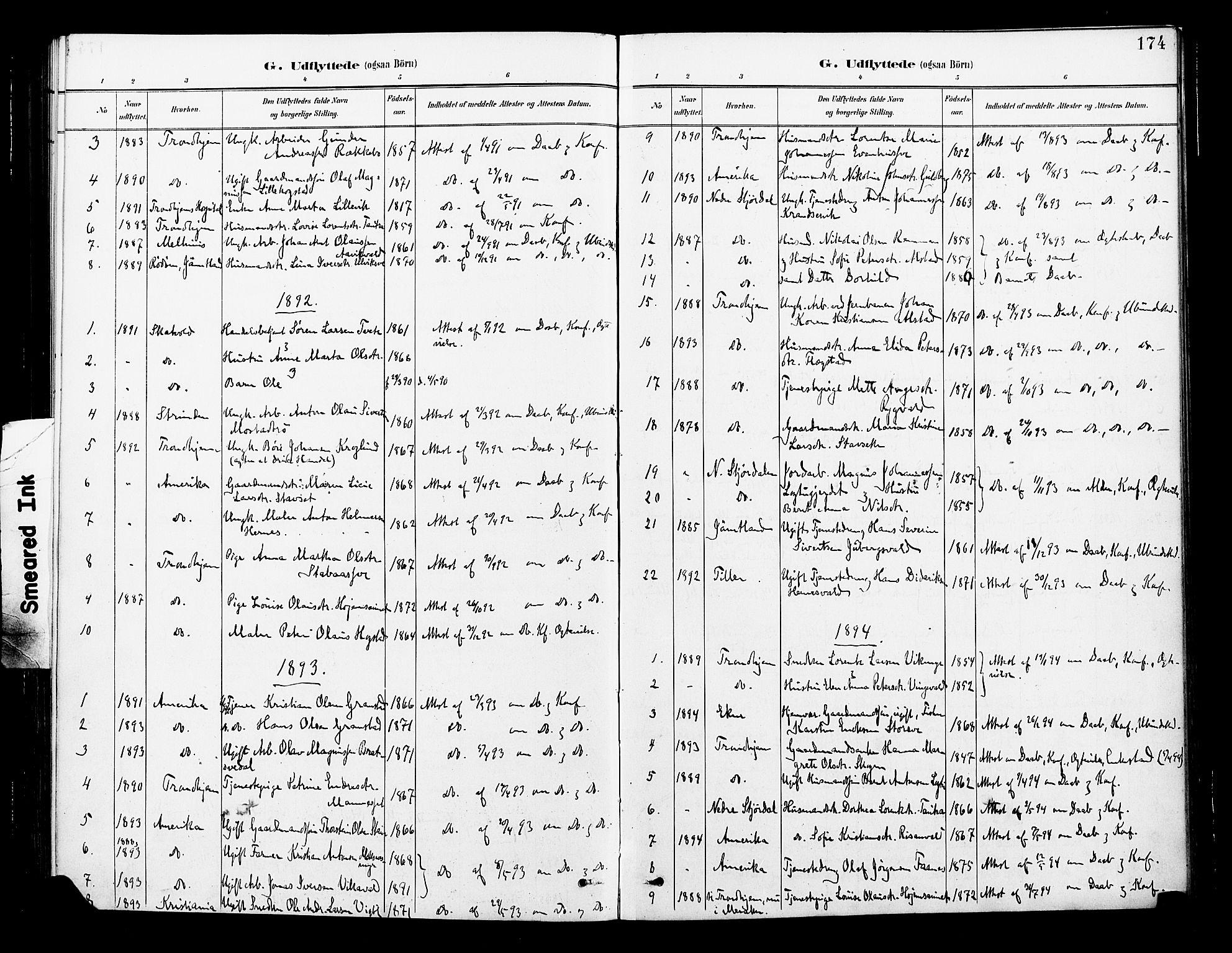 SAT, Ministerialprotokoller, klokkerbøker og fødselsregistre - Nord-Trøndelag, 713/L0121: Ministerialbok nr. 713A10, 1888-1898, s. 174