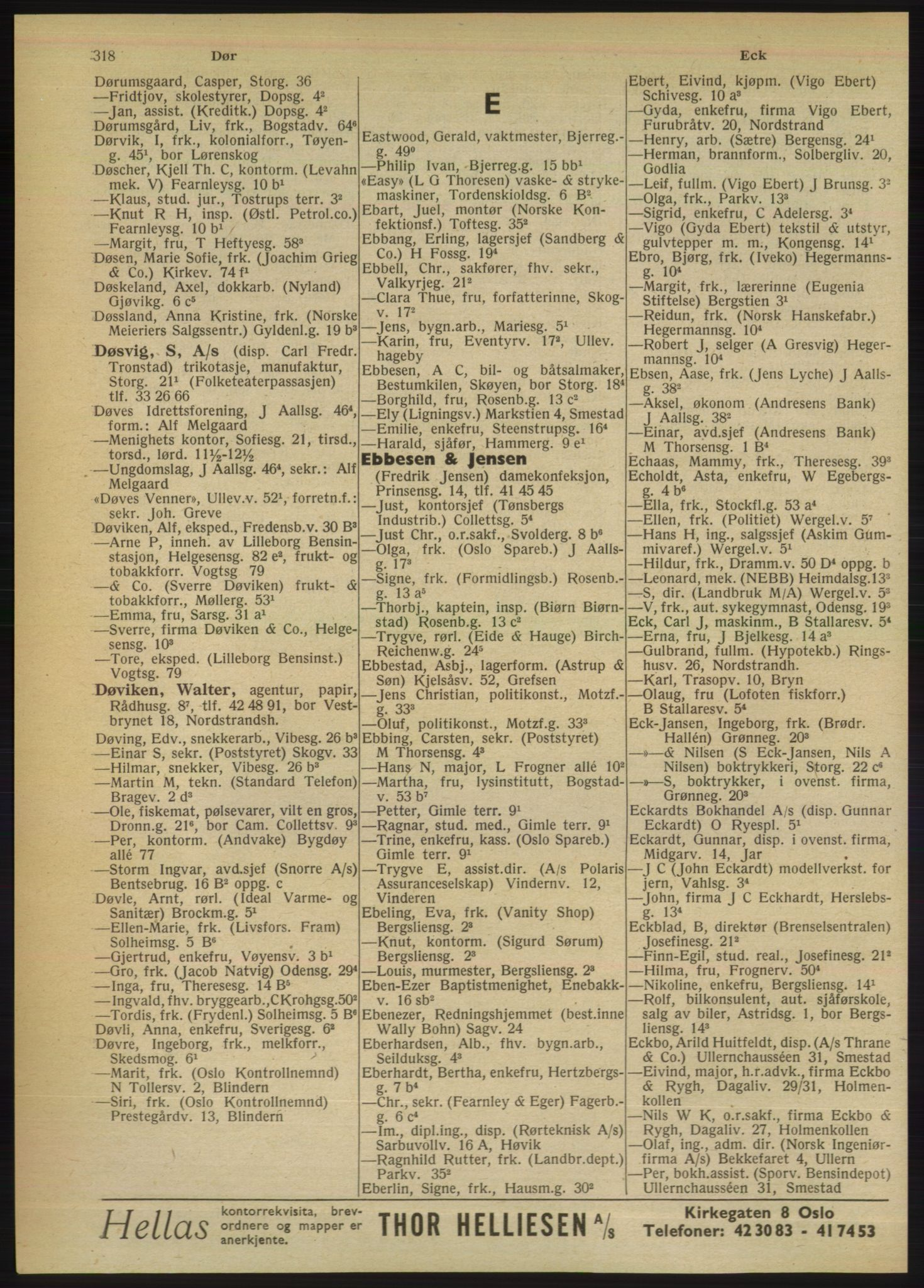 PUBL, Kristiania/Oslo adressebok, 1949, s. 318