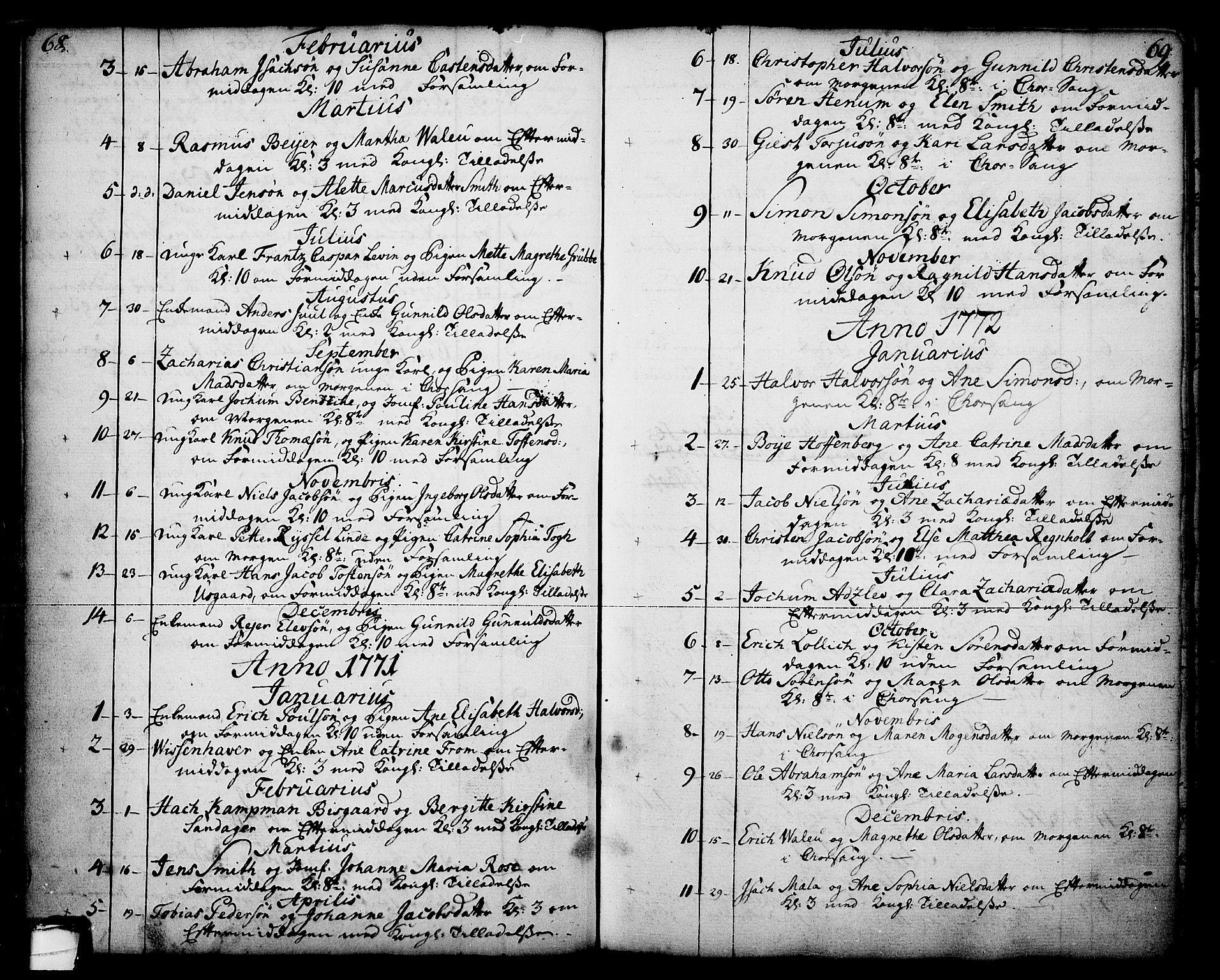 SAKO, Skien kirkebøker, F/Fa/L0003: Ministerialbok nr. 3, 1755-1791, s. 68-69