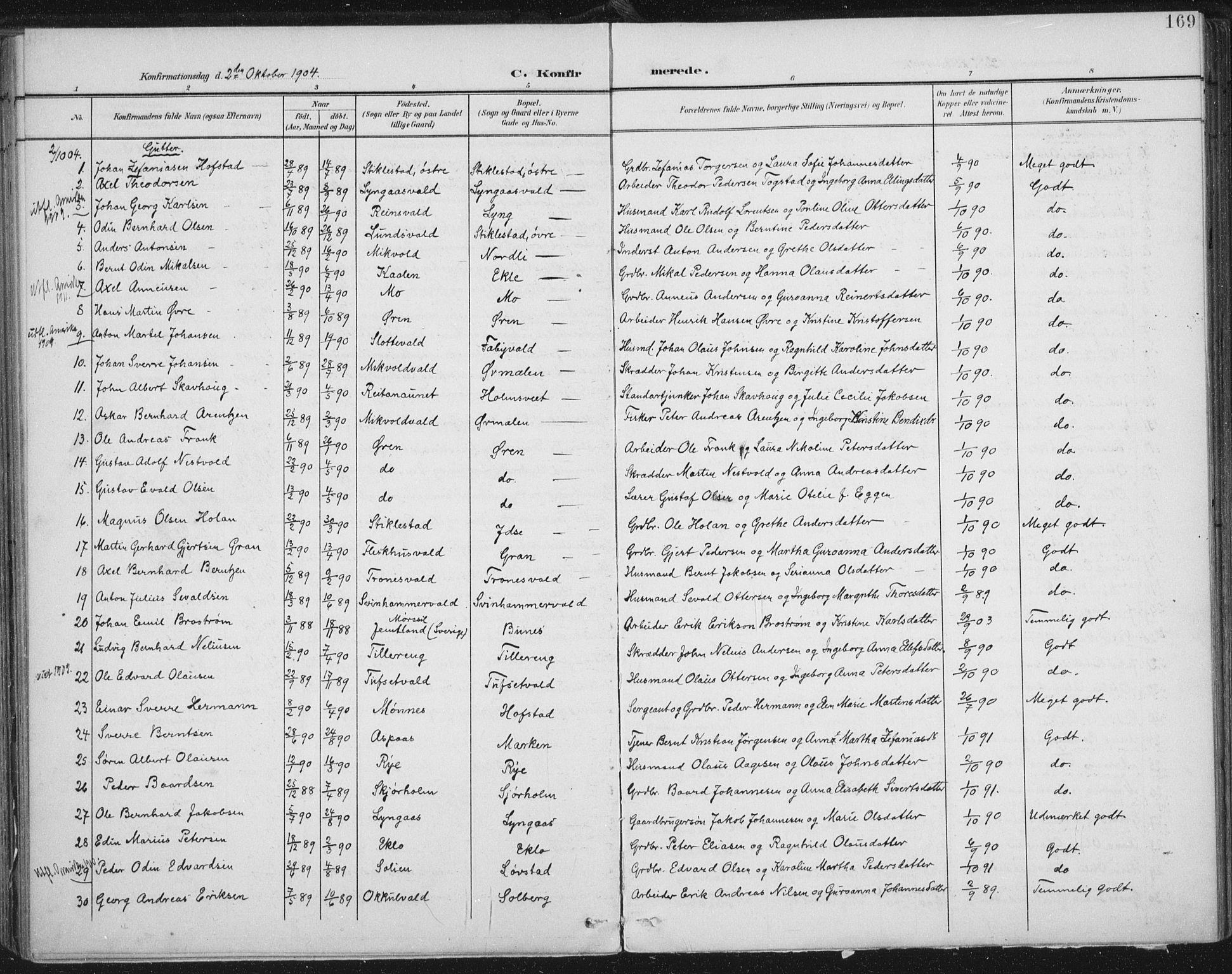 SAT, Ministerialprotokoller, klokkerbøker og fødselsregistre - Nord-Trøndelag, 723/L0246: Ministerialbok nr. 723A15, 1900-1917, s. 169