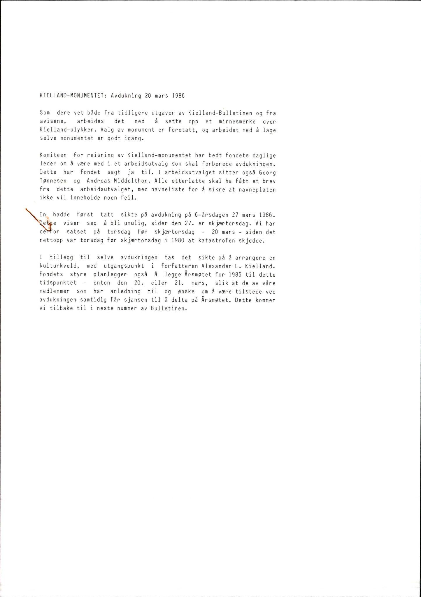 SAST, Pa 1660 - Kielland- fondet, X/Xa/L0001: Rapport til overlevende og etterlatte/ Kielland Bulletin, 1980-1998