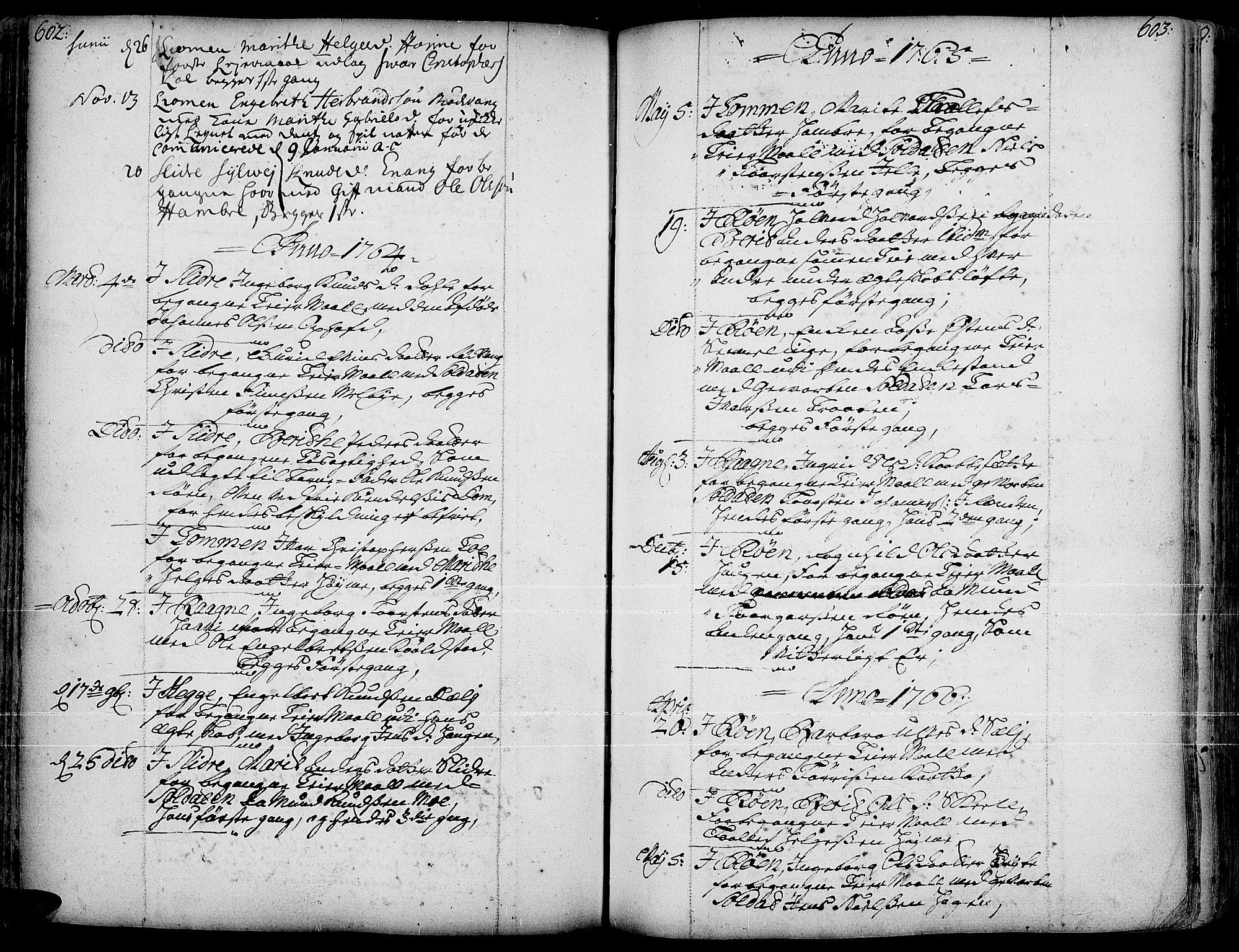 SAH, Slidre prestekontor, Ministerialbok nr. 1, 1724-1814, s. 602-603