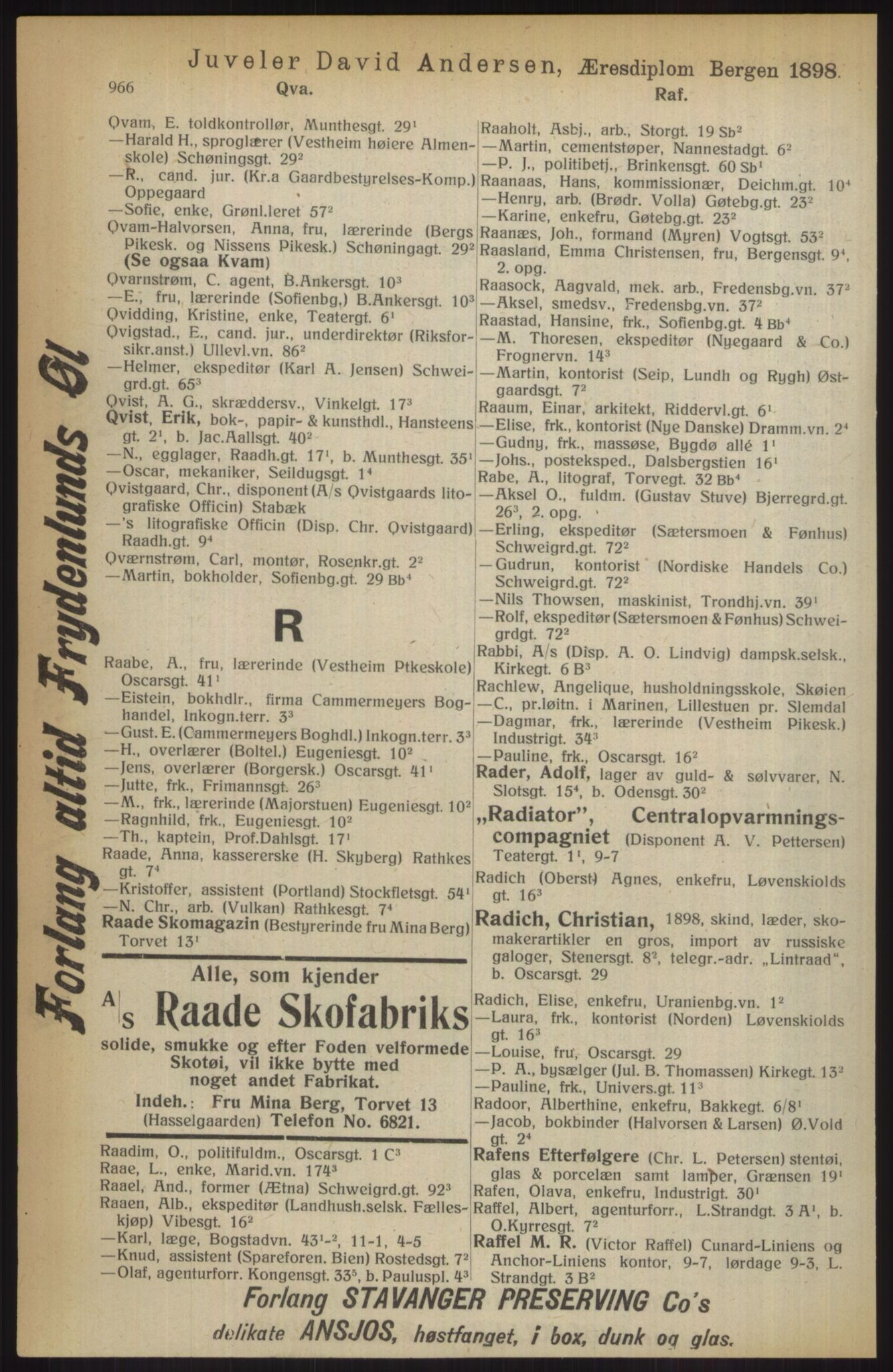RA, Kristiania adressebok (publikasjon)*, 1914, s. 966