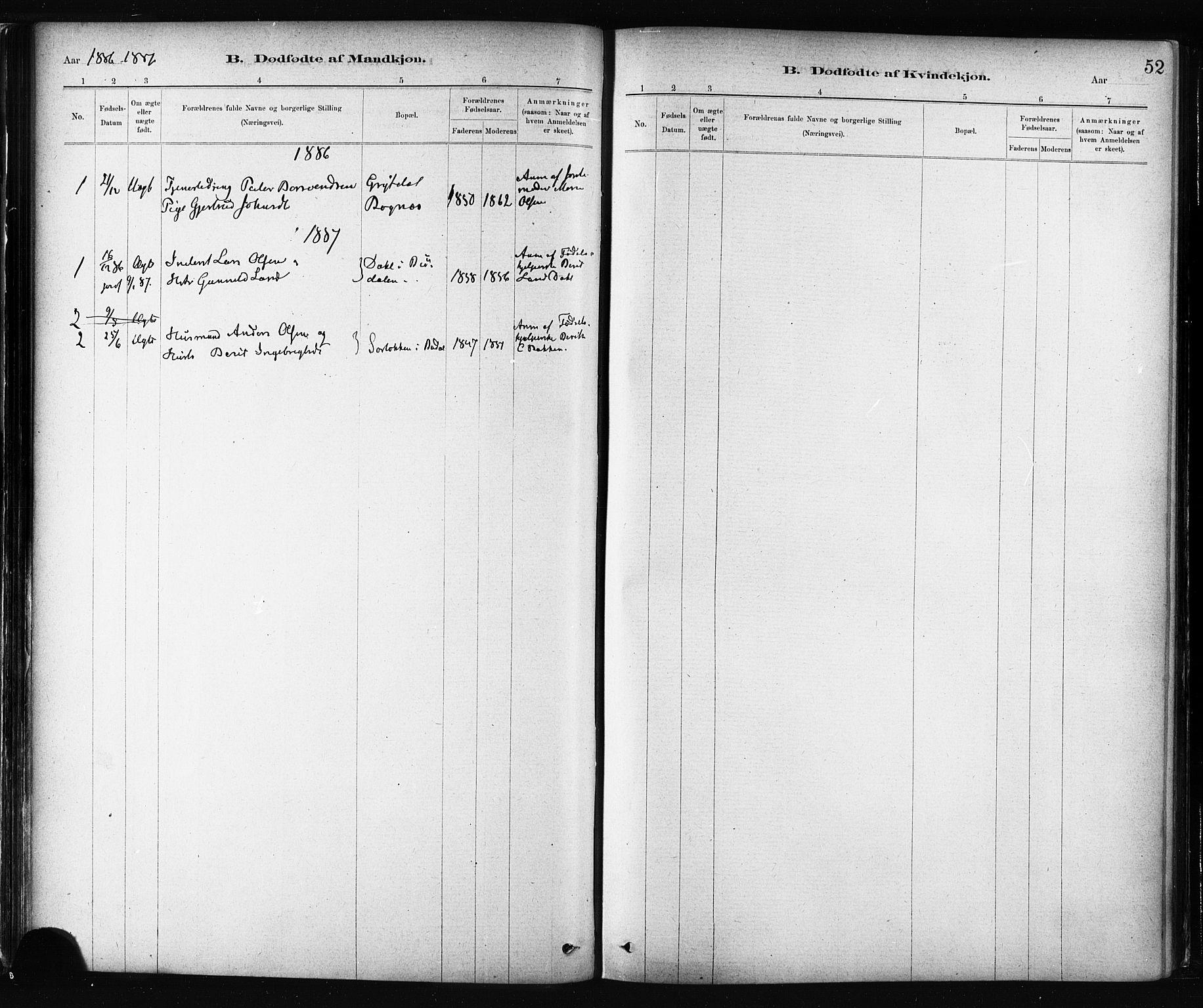SAT, Ministerialprotokoller, klokkerbøker og fødselsregistre - Sør-Trøndelag, 687/L1002: Ministerialbok nr. 687A08, 1878-1890, s. 52