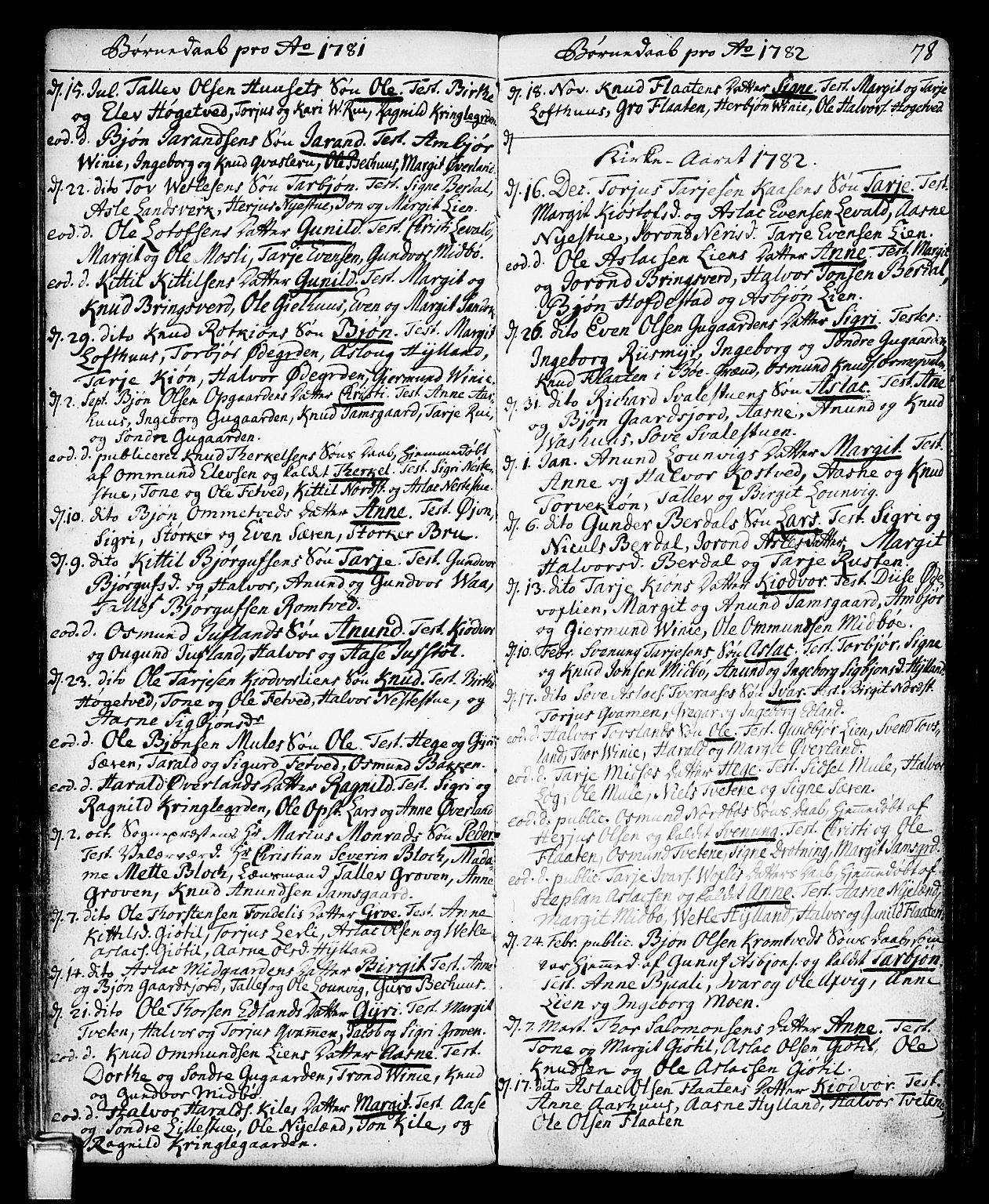 SAKO, Vinje kirkebøker, F/Fa/L0002: Ministerialbok nr. I 2, 1767-1814, s. 78