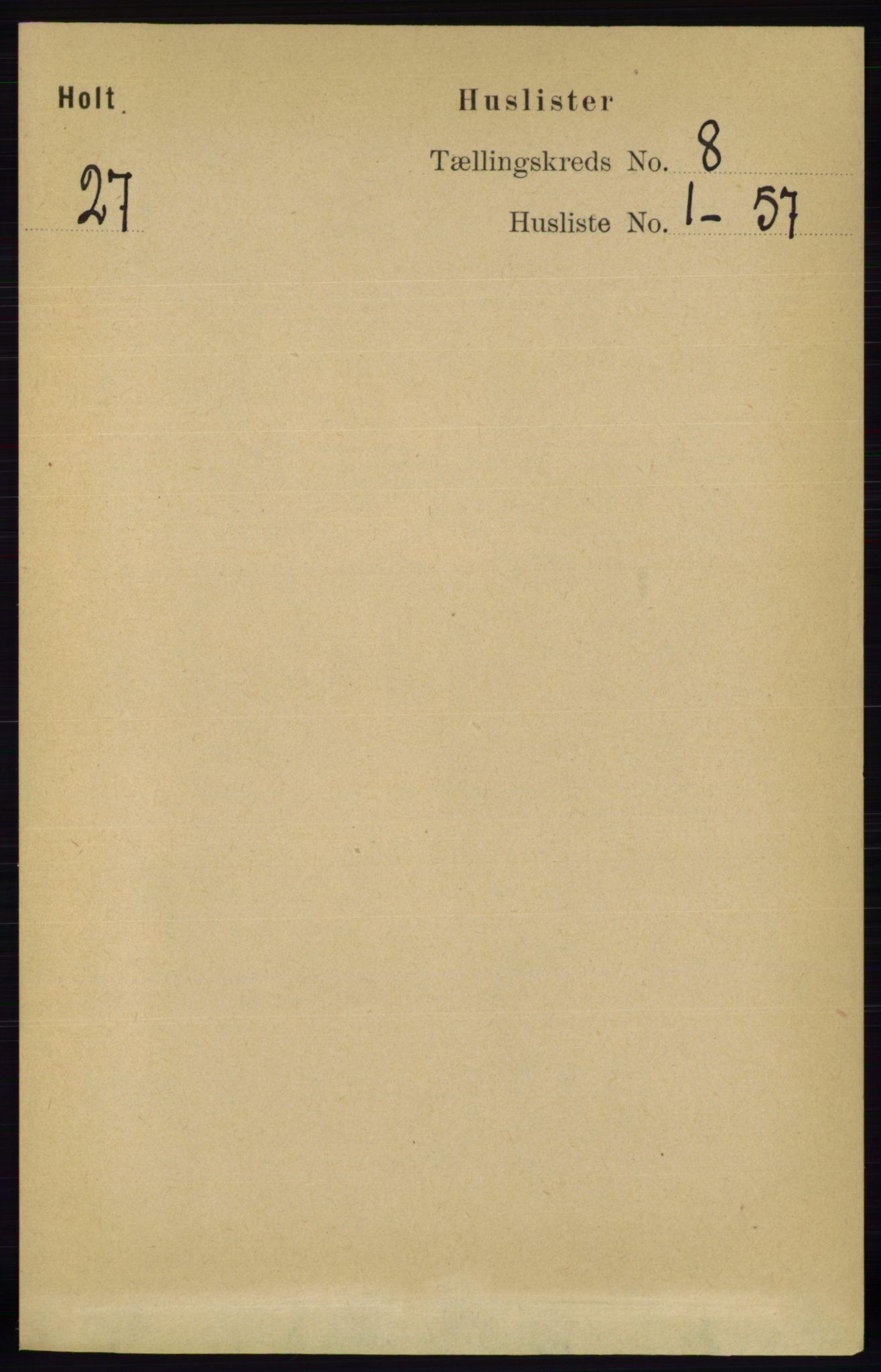RA, Folketelling 1891 for 0914 Holt herred, 1891, s. 3468