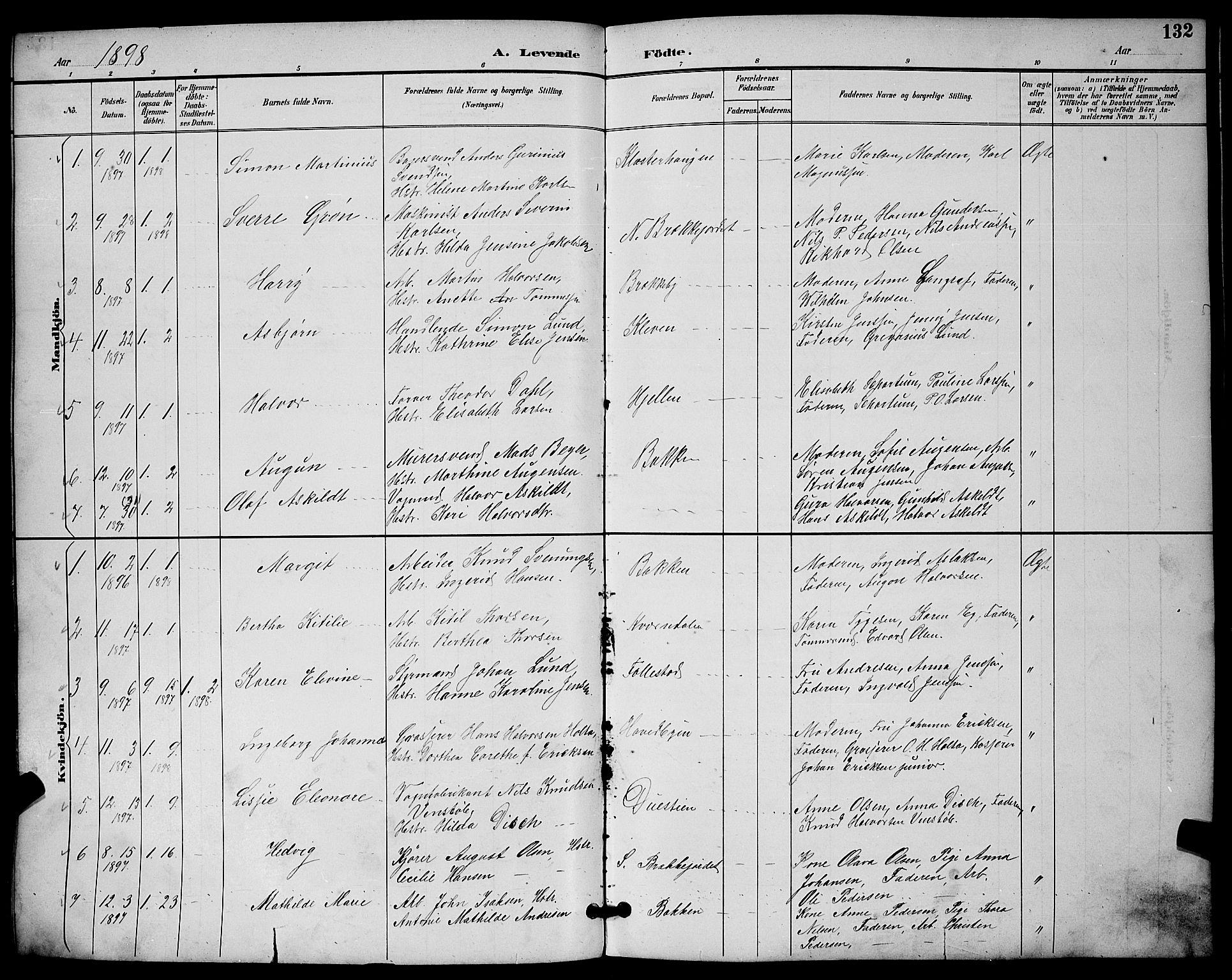 SAKO, Skien kirkebøker, G/Ga/L0007: Klokkerbok nr. 7, 1891-1900, s. 132