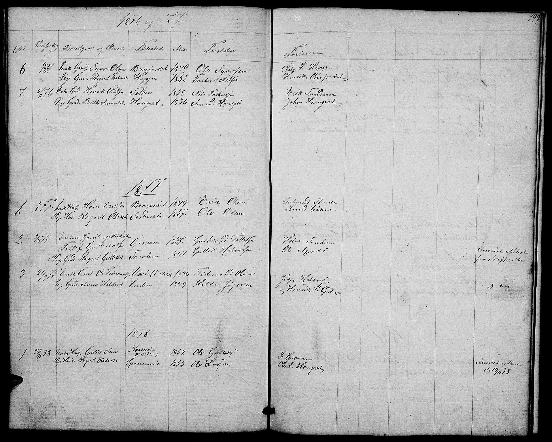SAH, Nord-Aurdal prestekontor, Klokkerbok nr. 4, 1842-1882, s. 199