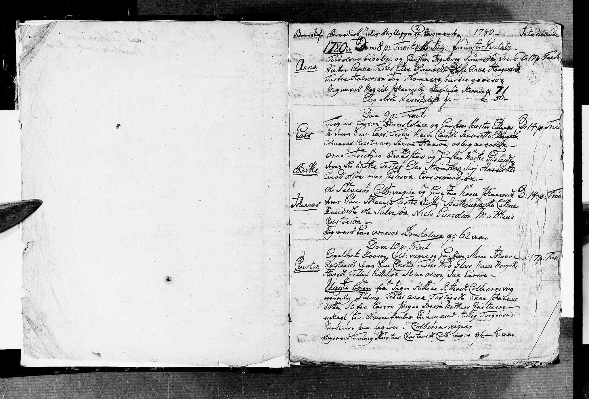 SAK, Øyestad sokneprestkontor, F/Fb/L0001: Klokkerbok nr. B 1, 1780-1794, s. 2